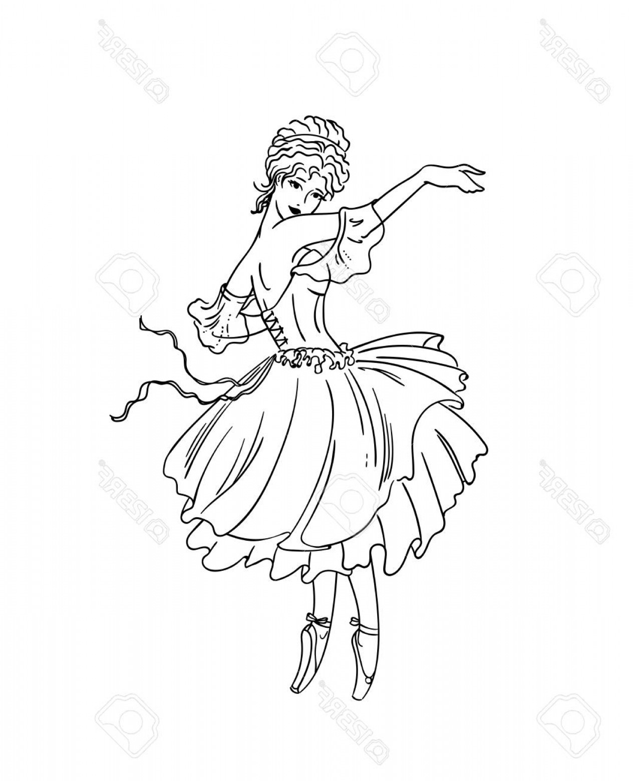 Belle EPS File Vector Art: Photostock Vector Vector Illustration Of Art Deco Ballerina Ballet Performance As A Shepherdess In La Belle Epoque St