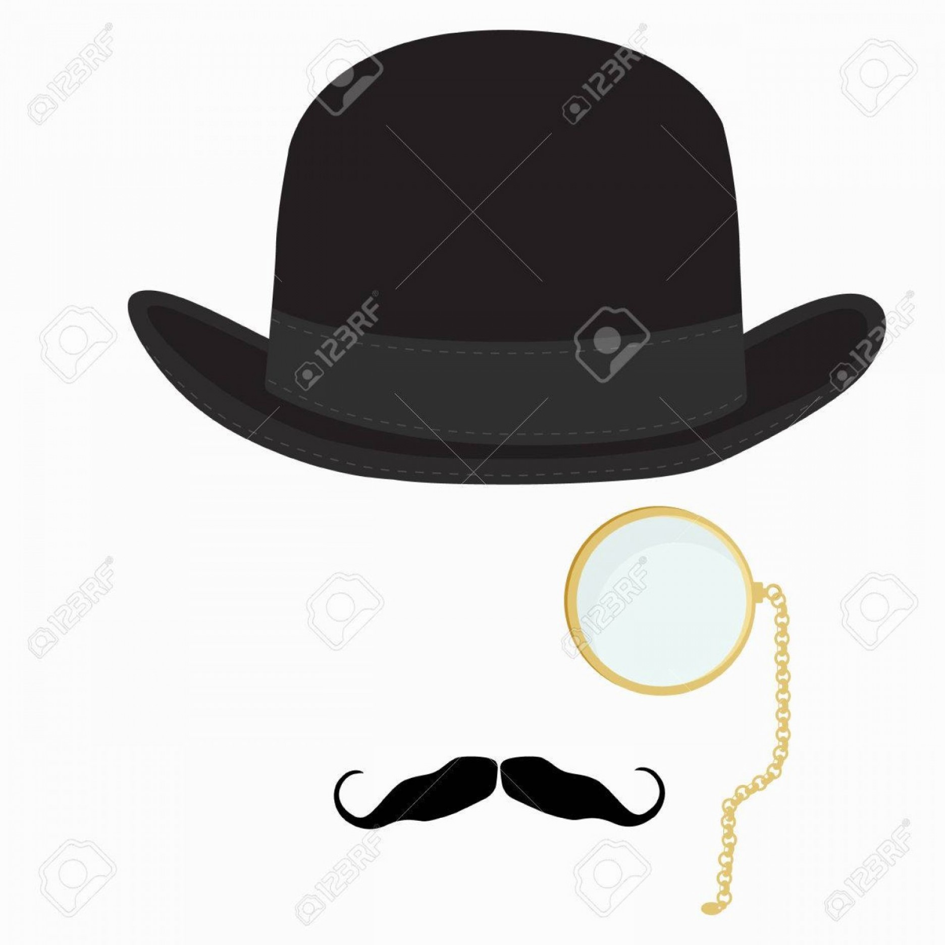 Bowler Hat Vector: Photostock Vector Vector Illustration Of Black Derby Hat Mustache And Golden Monocle With Chain Bowler Hat Black Fashi