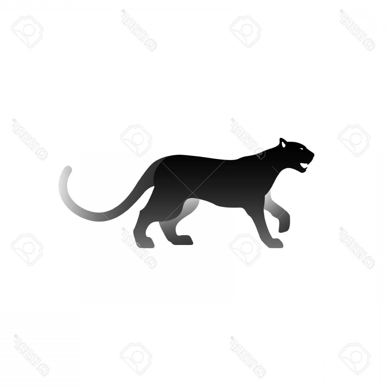 Panther Silhouette Vector: Photostock Vector Vector Illustration Of Black Panther Isolated On White Background Icon Logo Panther Side View