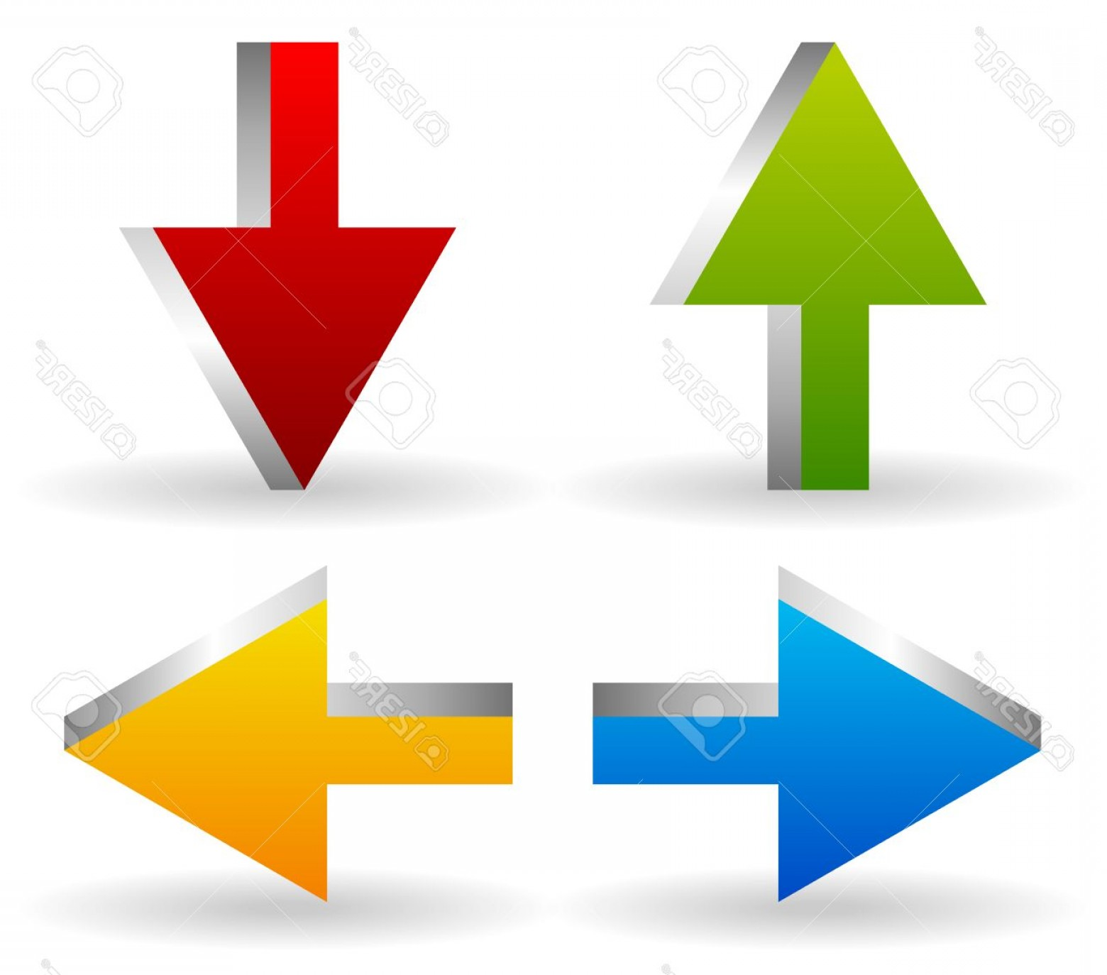 Up And Right Arrows Vector: Photostock Vector Vector Illustration Of Bright D Arrows Arrow Icons Pointing Up Down Left And Right Green Red Blue A