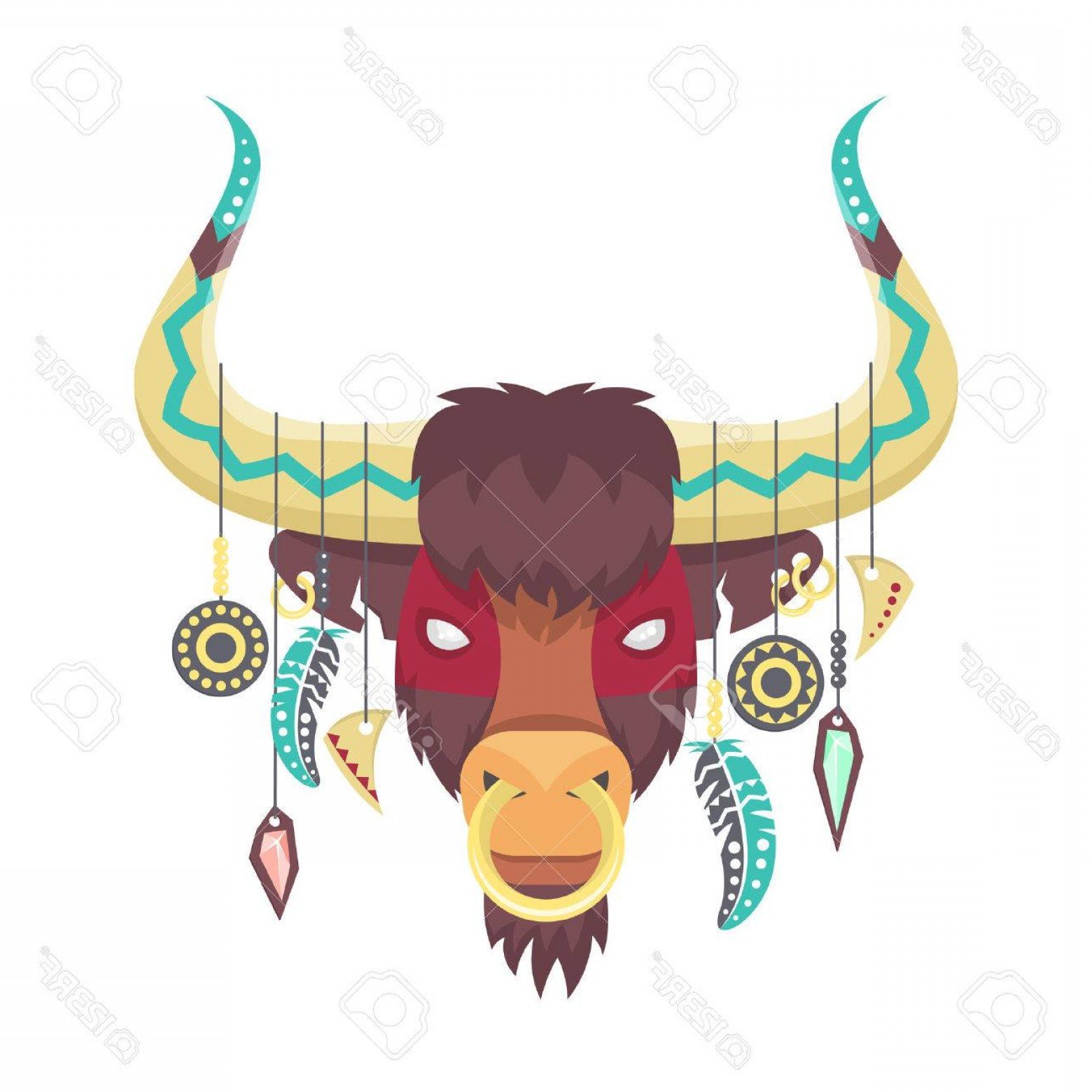Ox Vector: Photostock Vector Vector Illustration Of Bull Or Ox In Ethnic Or Tribal Style Animal Totem Bull Print For T Shirt Vect