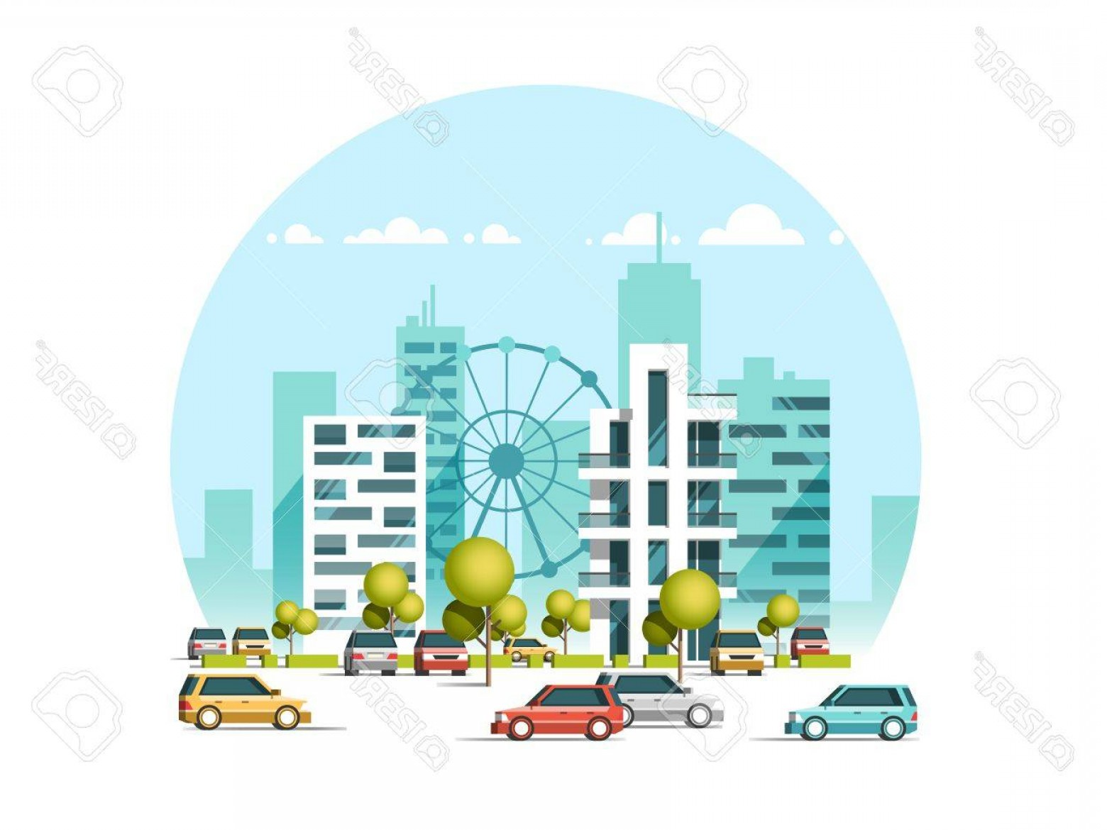 Cars Skyline Vector: Photostock Vector Vector Illustration Of Cars Parking Along The Street Traffic In Downtown City Skyscrapers Building S