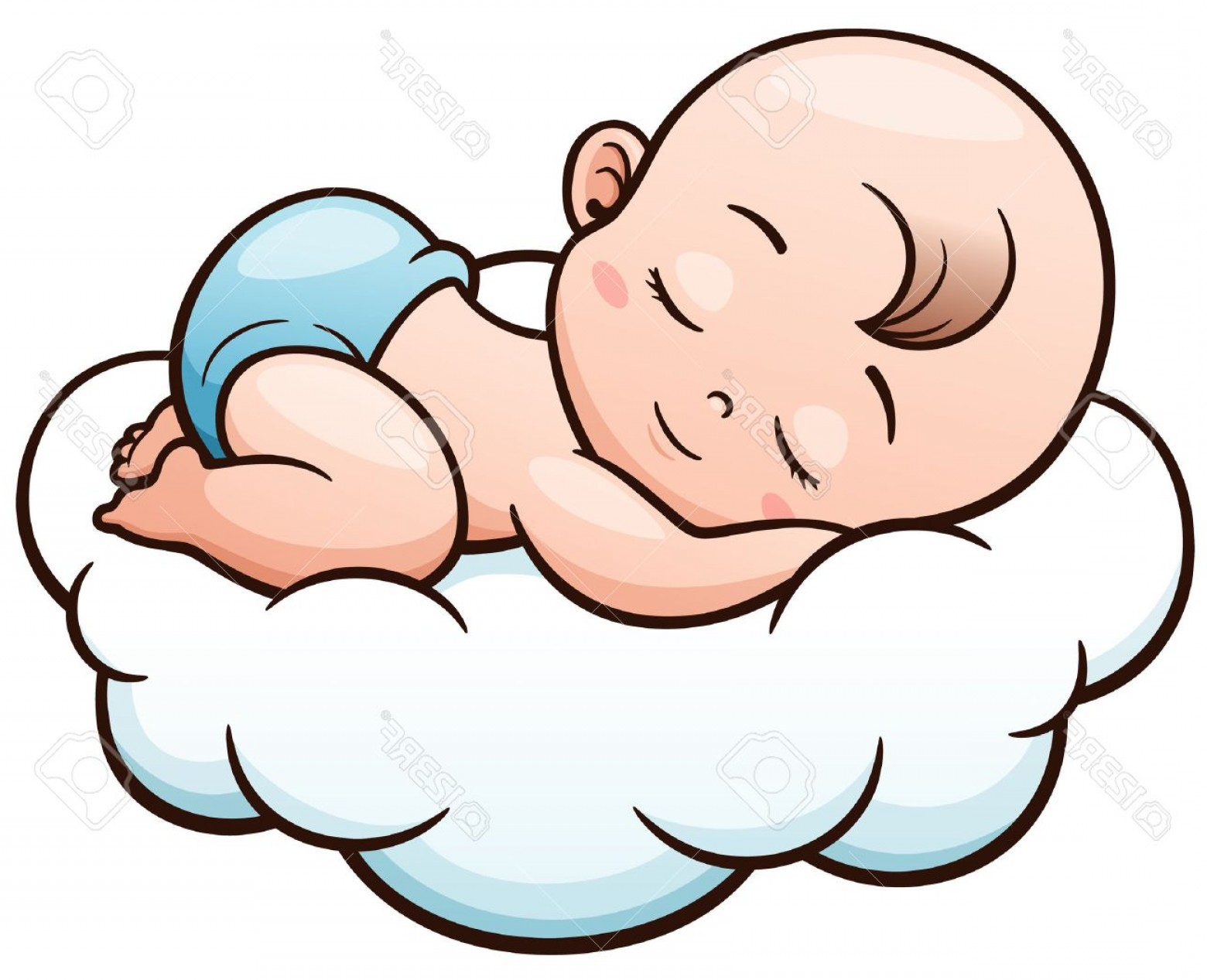 Sleeping Baby Vector: Photostock Vector Vector Illustration Of Cartoon Baby Sleeping On A Cloud