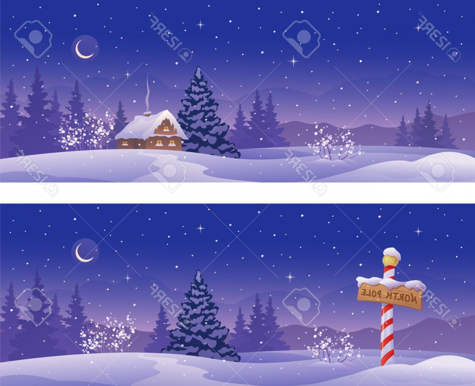 North Pole Landscape Vector: Photostock Vector Vector Illustration Of Christmas Night Banners With A North Pole Sign And Snow Covered House