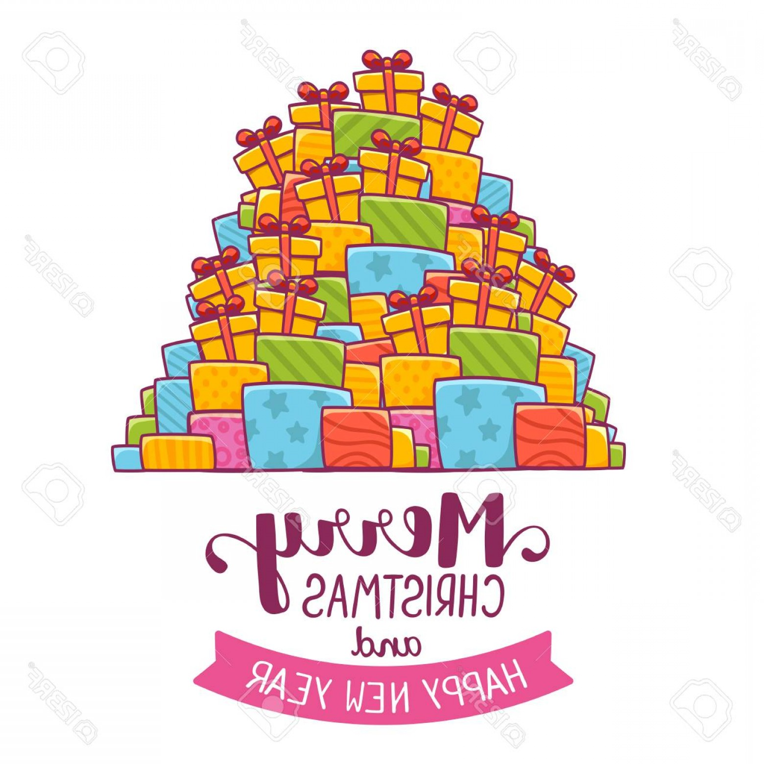 Vector Art Free Christmas Gift: Photostock Vector Vector Illustration Of Colorful High Pile Of Christmas Gifts And Handwritten Text Merry Christmas On