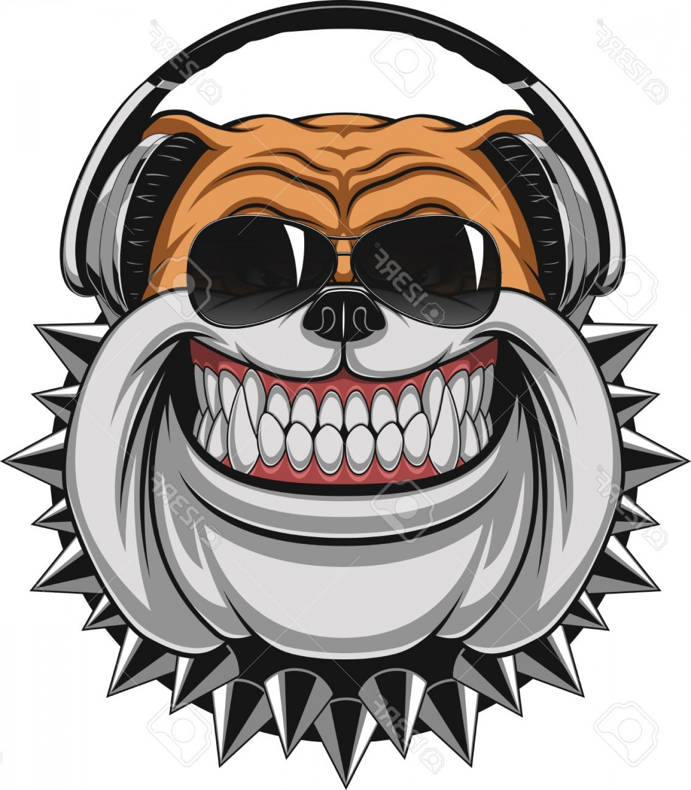 Vector Smiling Bulldog: Photostock Vector Vector Illustration Of Funny Bulldog Wearing Headphones Listening To Music Smiling
