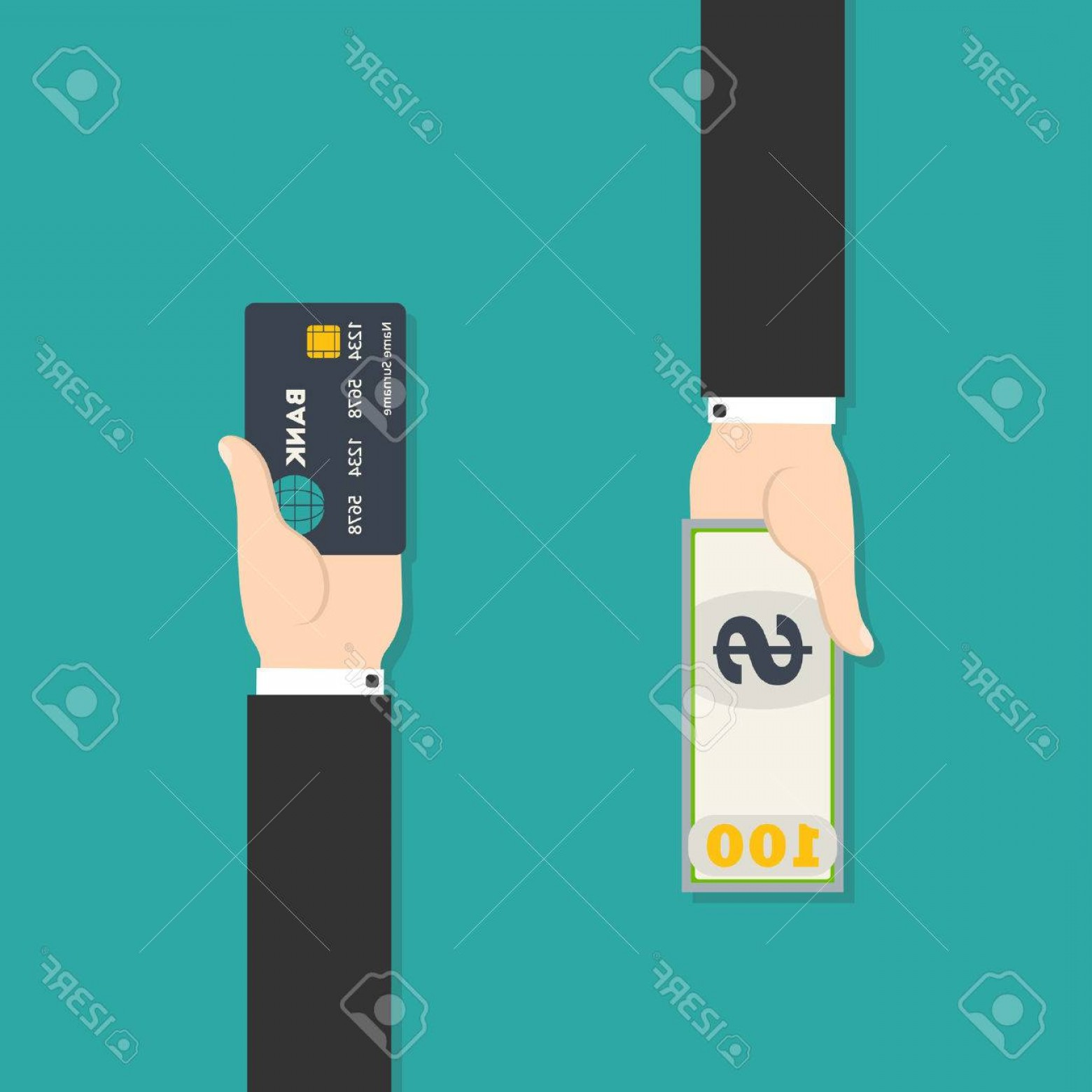 Vector One Debit Check: Photostock Vector Vector Illustration Of Hand With Credit Card And Cash For Your Design