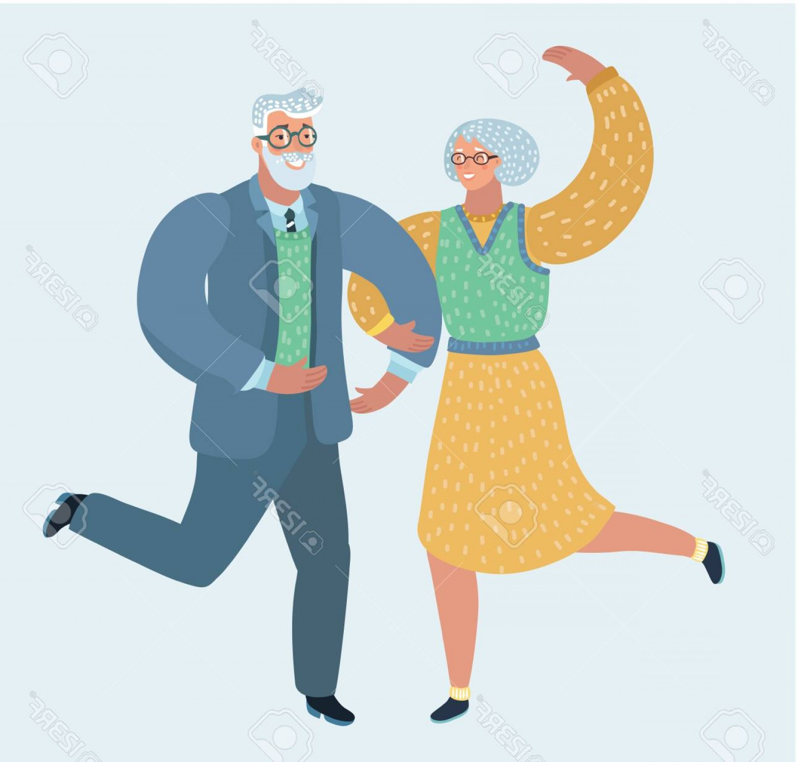 Happy Elderly Vector: Photostock Vector Vector Illustration Of Happy Elderly Couple Dancing Human Characters On White Background