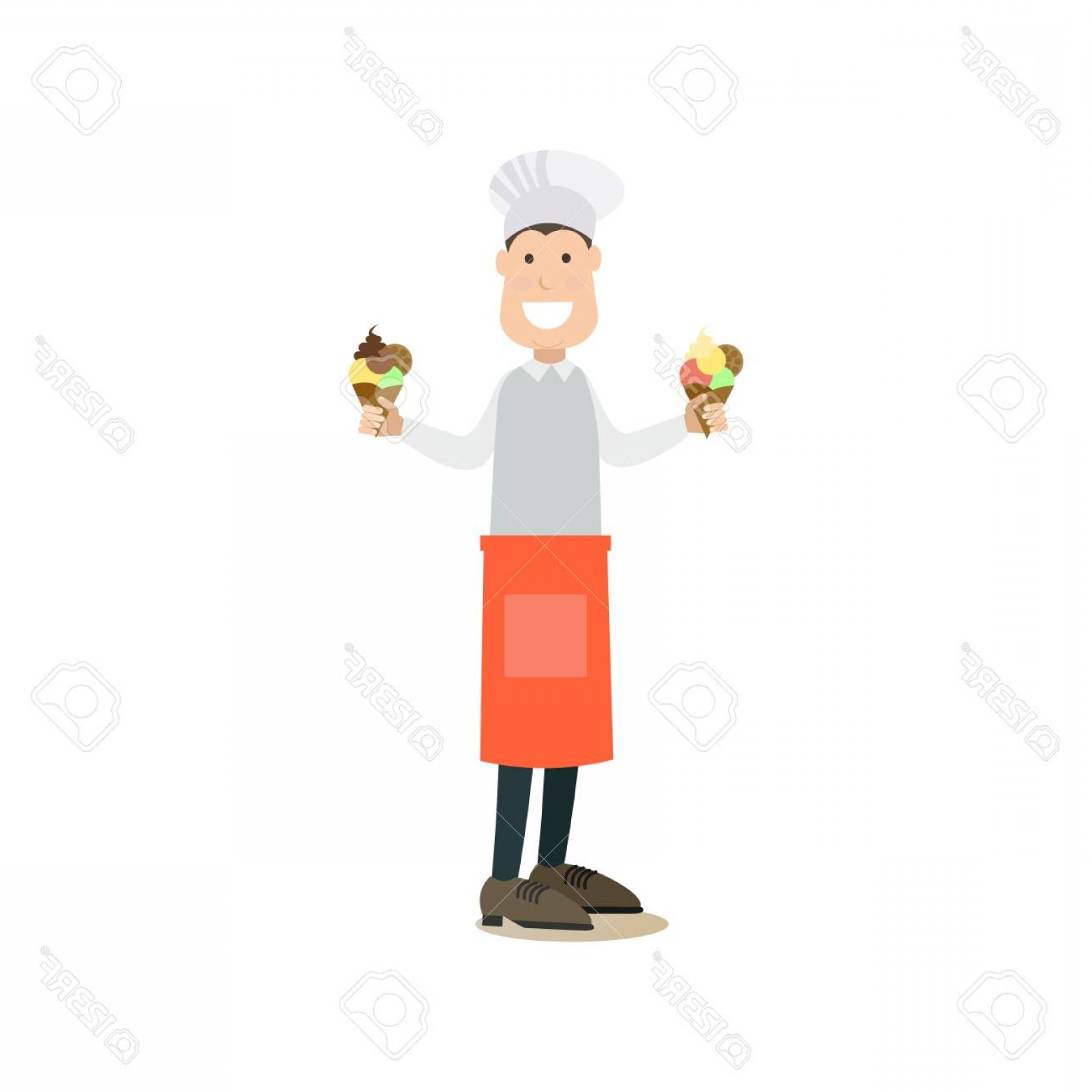 Salesman Vector: Photostock Vector Vector Illustration Of Happy Smiling Ice Cream Salesman Holding Ice Cream Cones In Both Hands Street