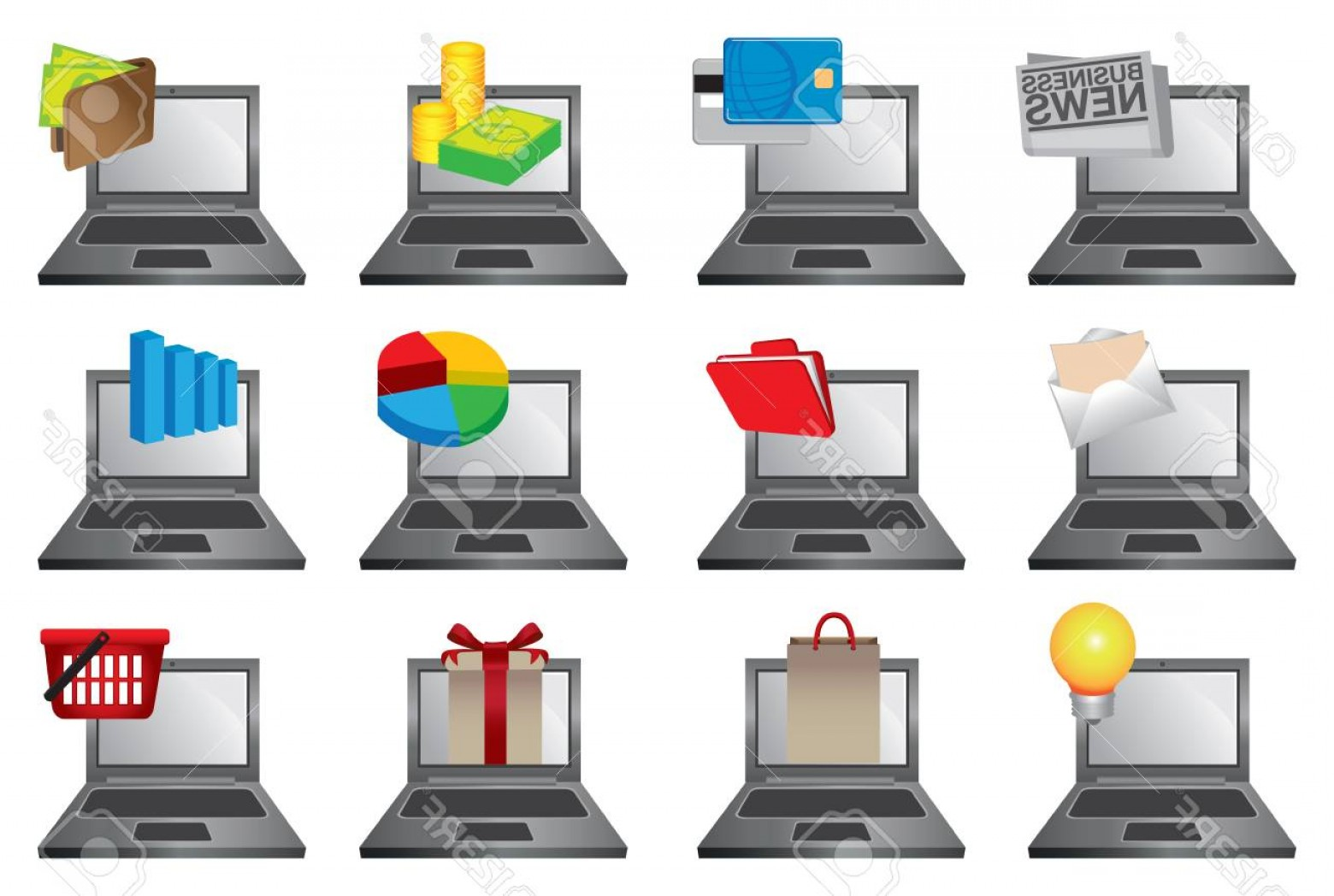 Vector Applications On Computers: Photostock Vector Vector Illustration Of Laptop Computers With Colorful Icons Of Different Softwares And Applications