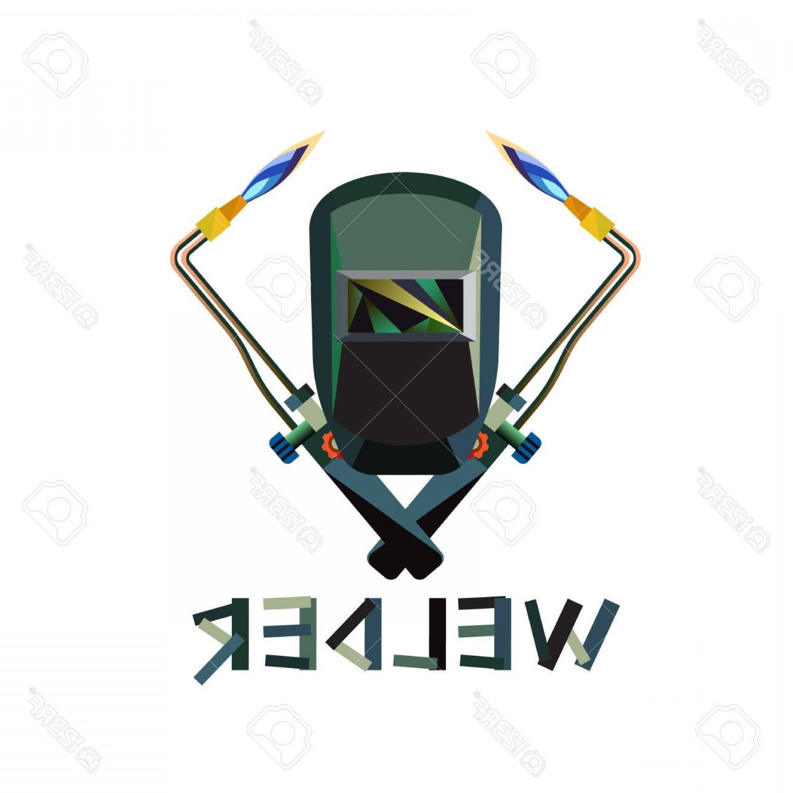 Welder's Torch Vector: Photostock Vector Vector Illustration Of Mask And Welding Torch With Flame