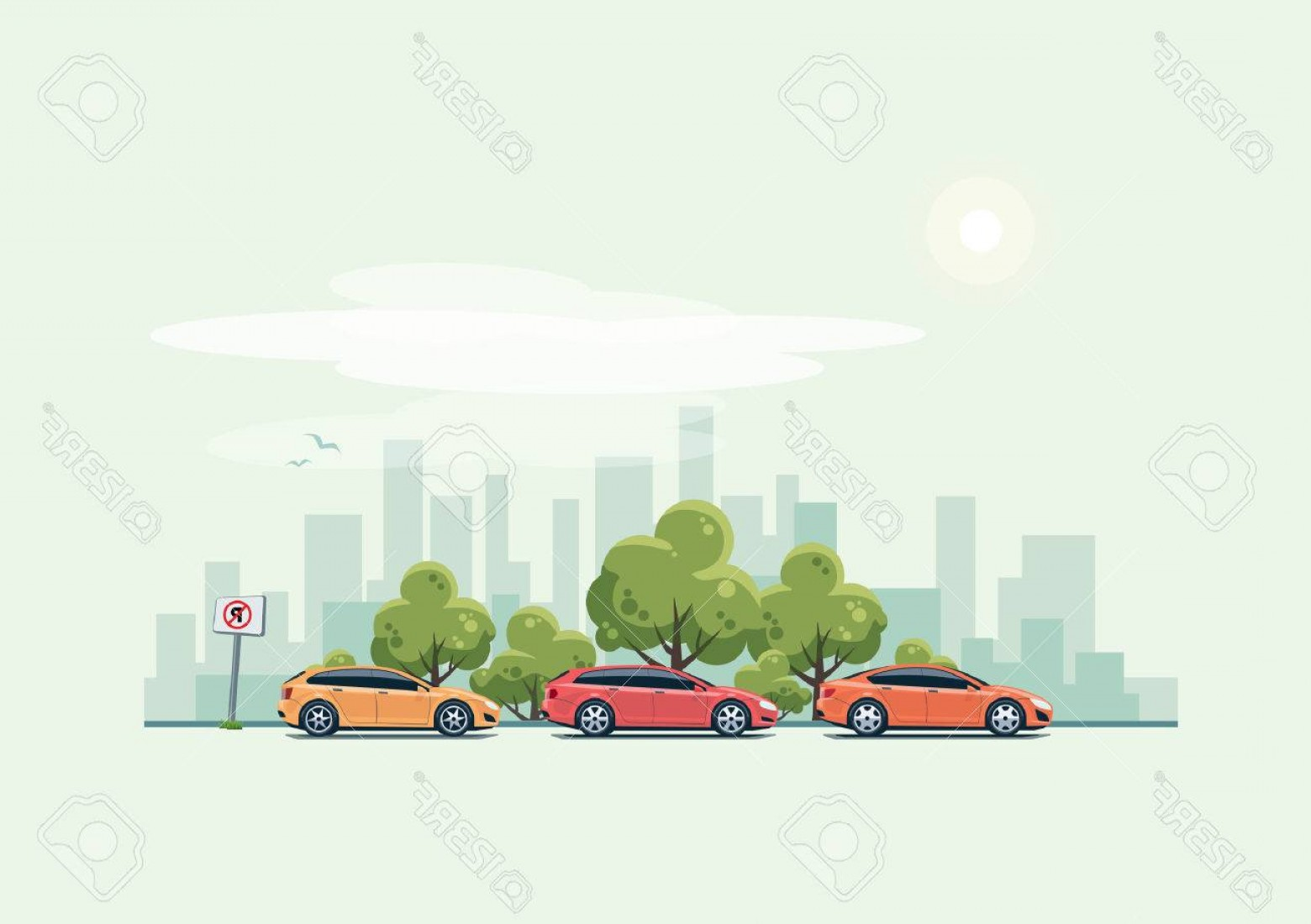Cars Skyline Vector: Photostock Vector Vector Illustration Of Modern Cars Parking Along The City Street With Green Trees In Cartoon Style H