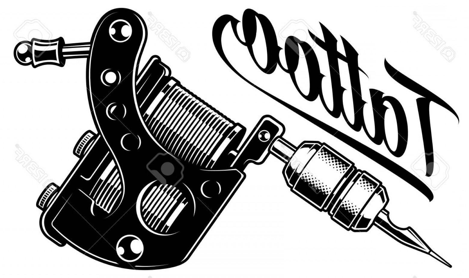 Tattoo Machine Vector Clip Art: Photostock Vector Vector Illustration Of Monochrome Tattoo Machine Isolated On White Background