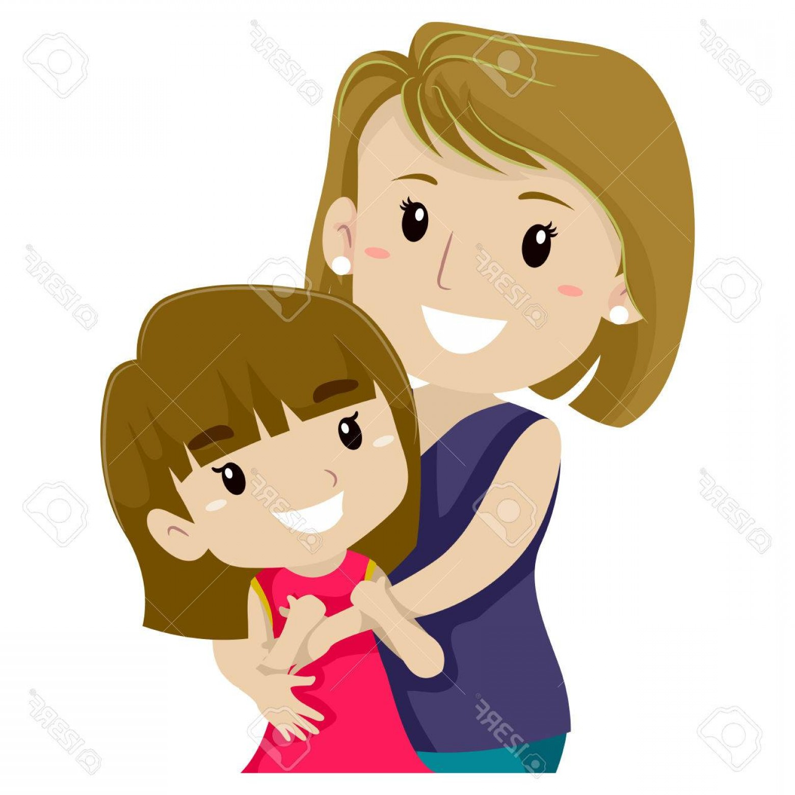 Bond Girls Vector: Photostock Vector Vector Illustration Of Mother Hugging Her Daughter