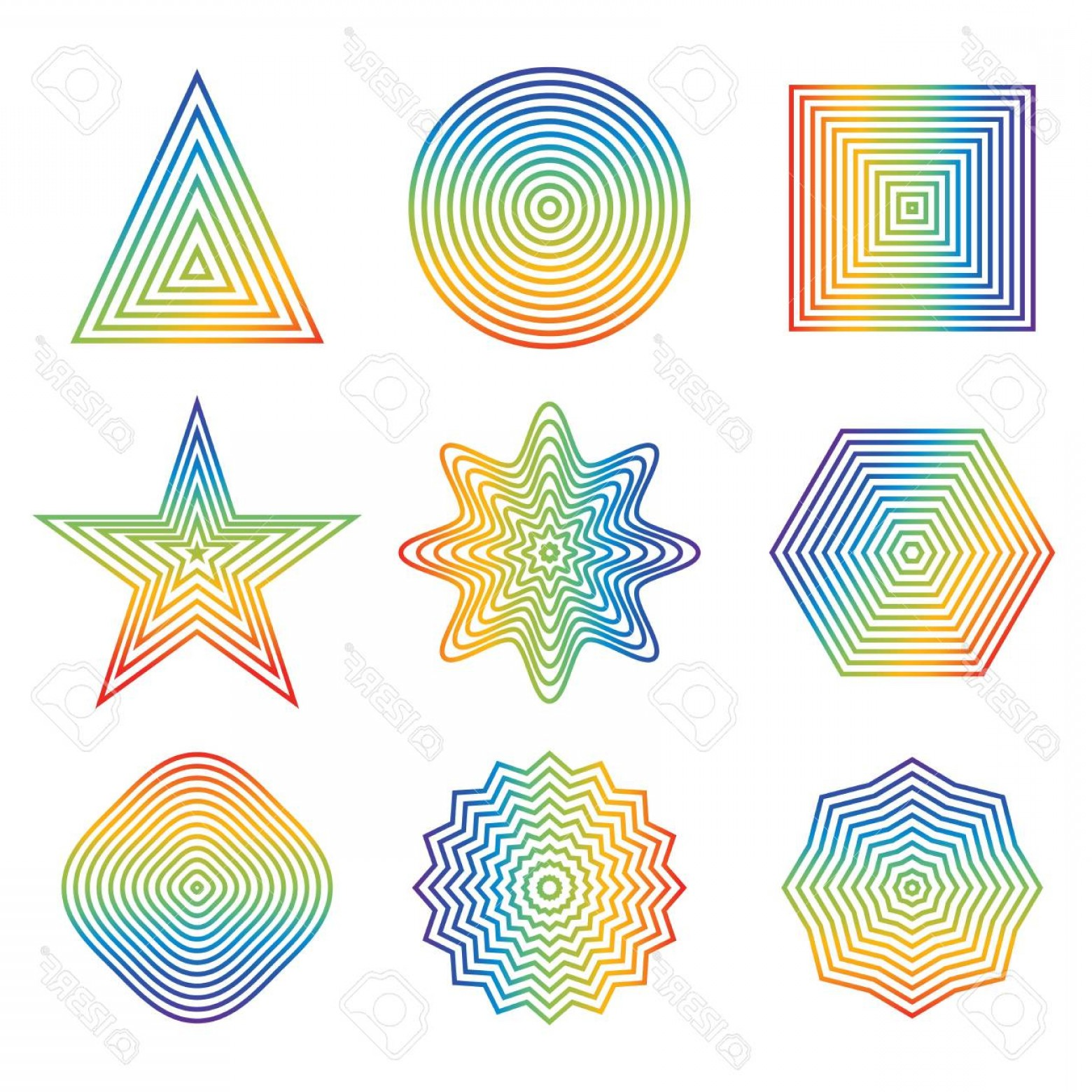 Rainbow Free Line Vector: Photostock Vector Vector Illustration Of Rainbow Line In Geometric Shape Element Isolated On White Background