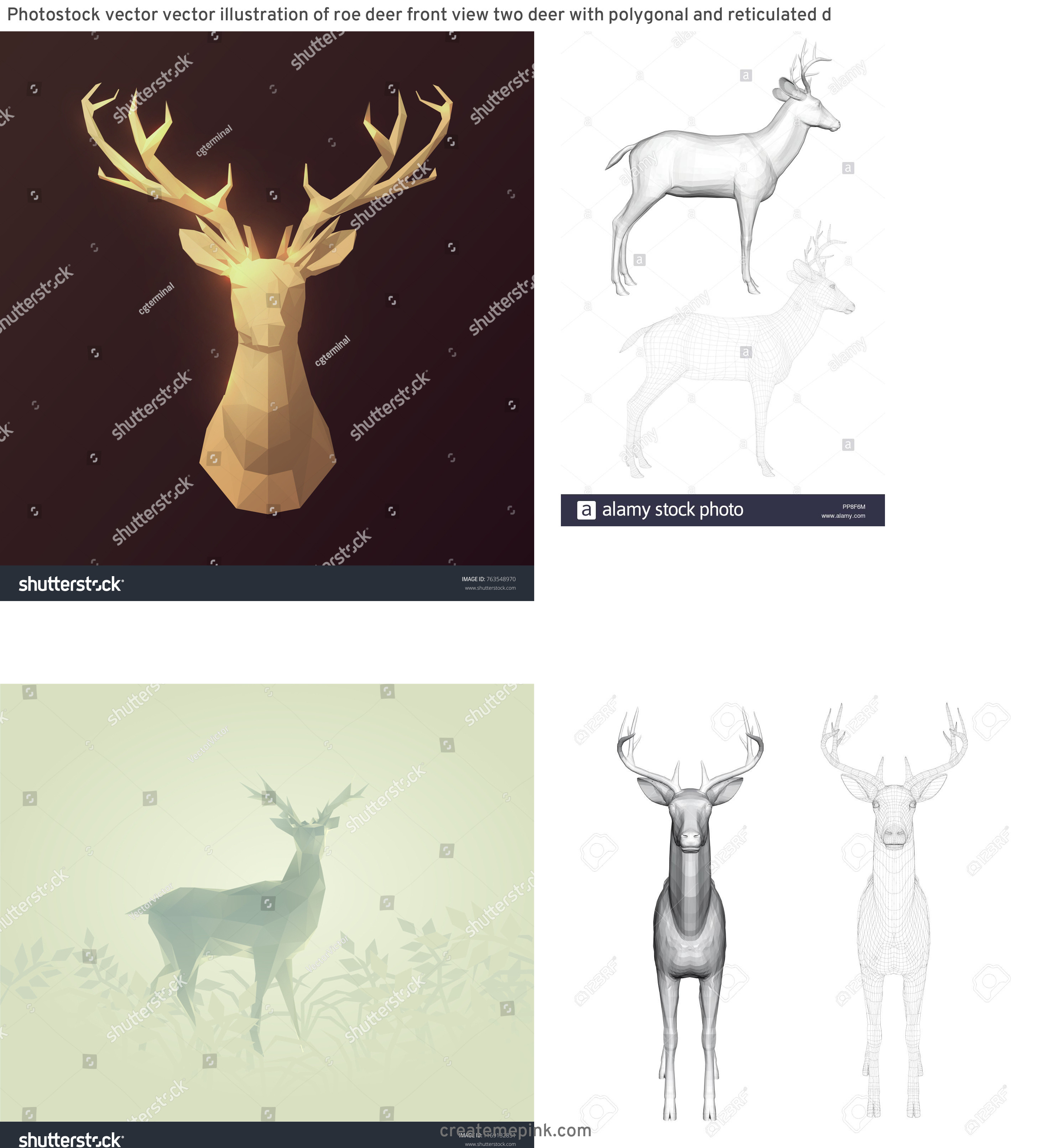 3D Vector Of A Deer: Photostock Vector Vector Illustration Of Roe Deer Front View Two Deer With Polygonal And Reticulated D
