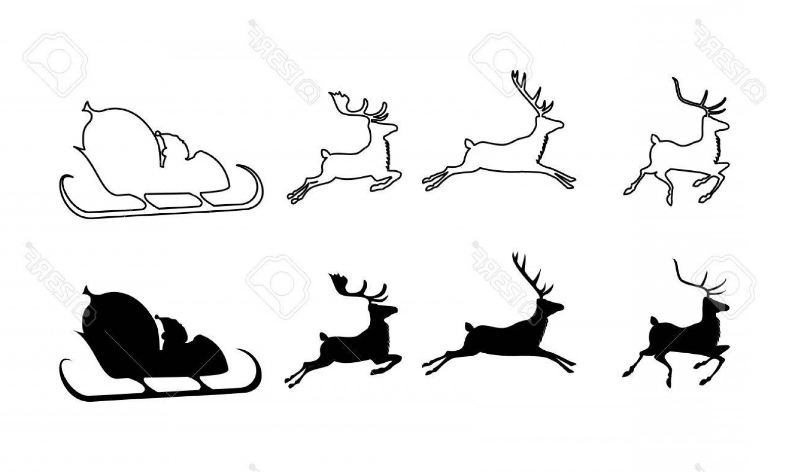 Black Santa Sleigh Vector: Photostock Vector Vector Illustration Of Santa Claus Silhouette With Sleigh And Three Reindeers