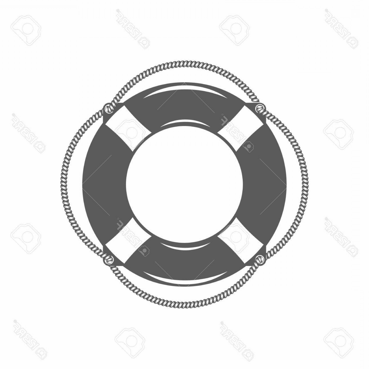 Old Lifesaver Stripe Vectors: Photostock Vector Vector Illustration Of The Lifebuoy In Black And White In The Old Fashioned Style And Line Art Style