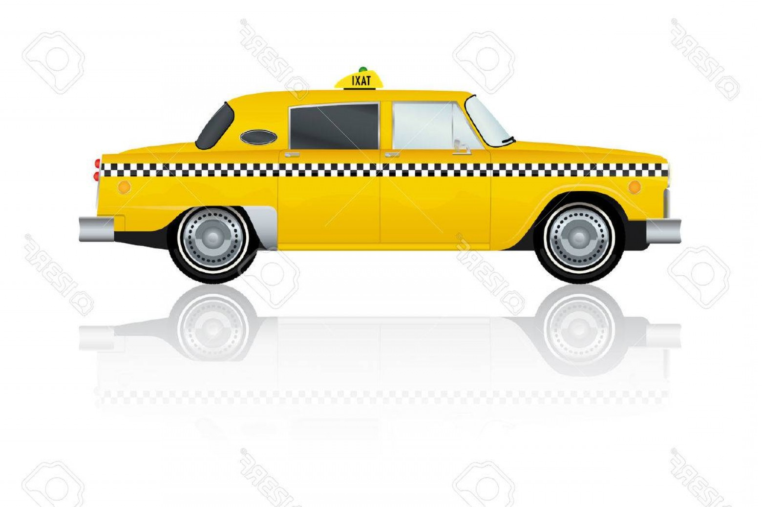 New York Taxi Cab Vector: Photostock Vector Vector Illustration Of Vintage Yellow New York Taxi Cab