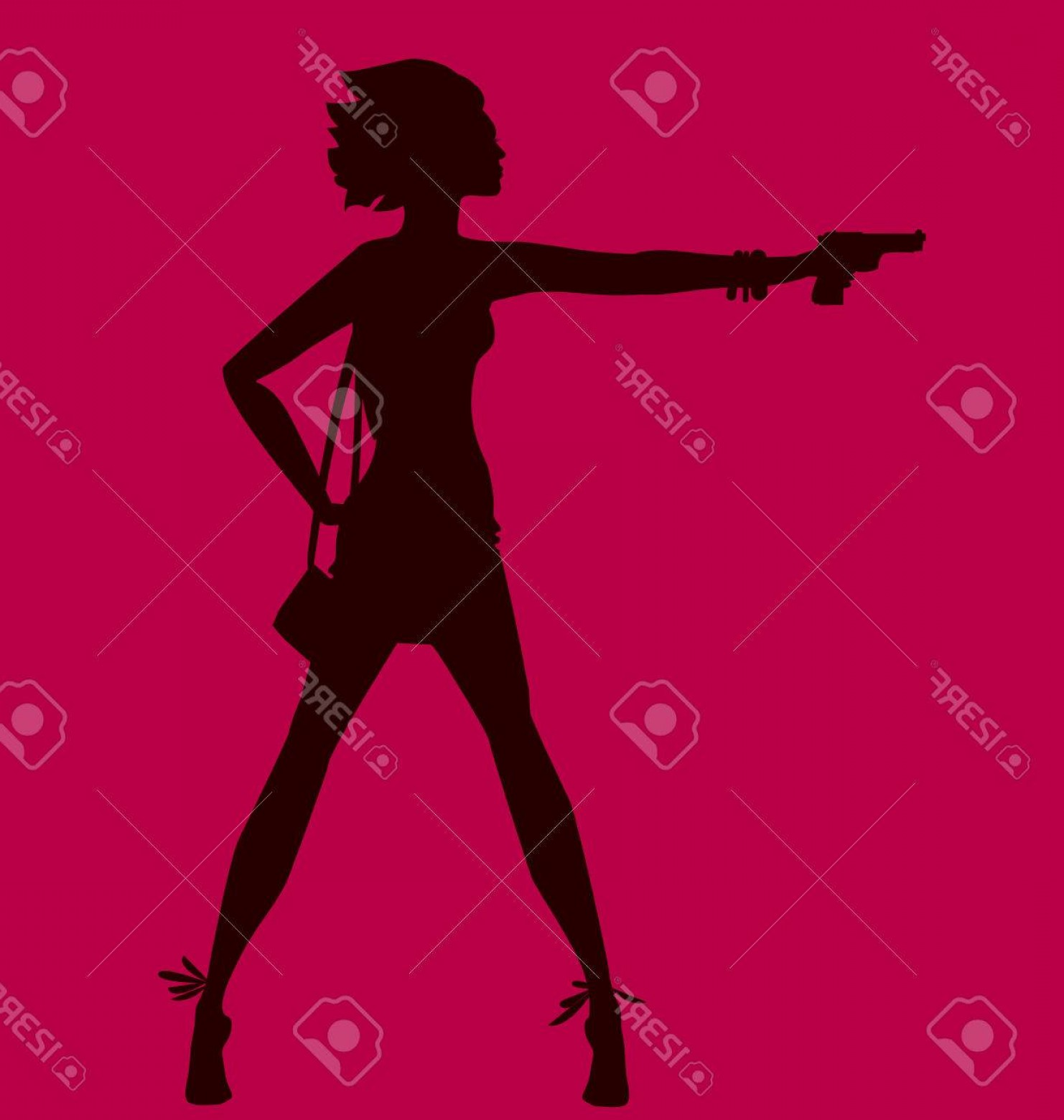Bond Girls Vector: Photostock Vector Vector Illustration Of Woman Silhouette With Gun Spy Agent Concept Fashion Girl Figure