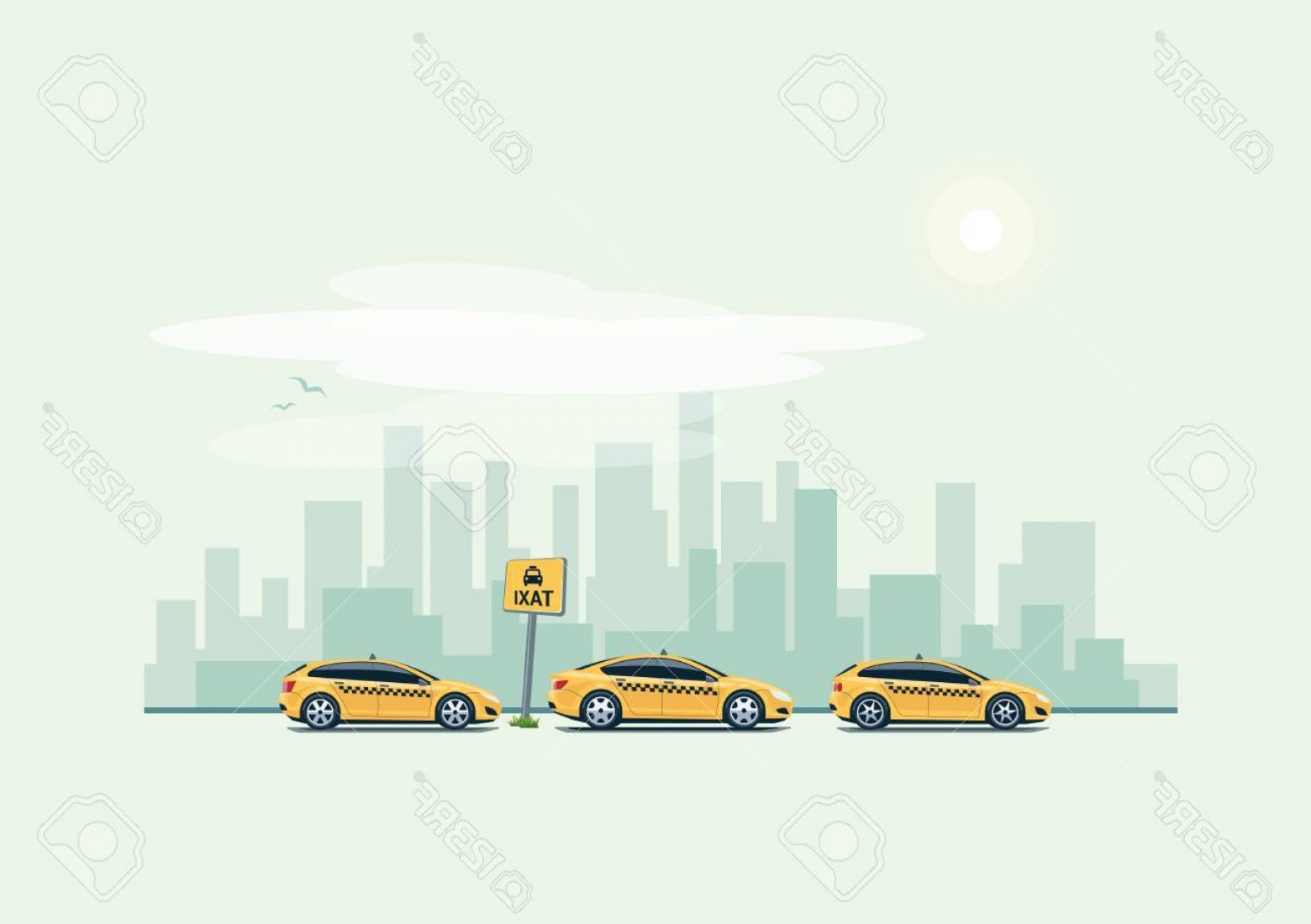 Cars Skyline Vector: Photostock Vector Vector Illustration Of Yellow Taxi Cars Parking Along The City Street In Cartoon Style Hatchback Sta