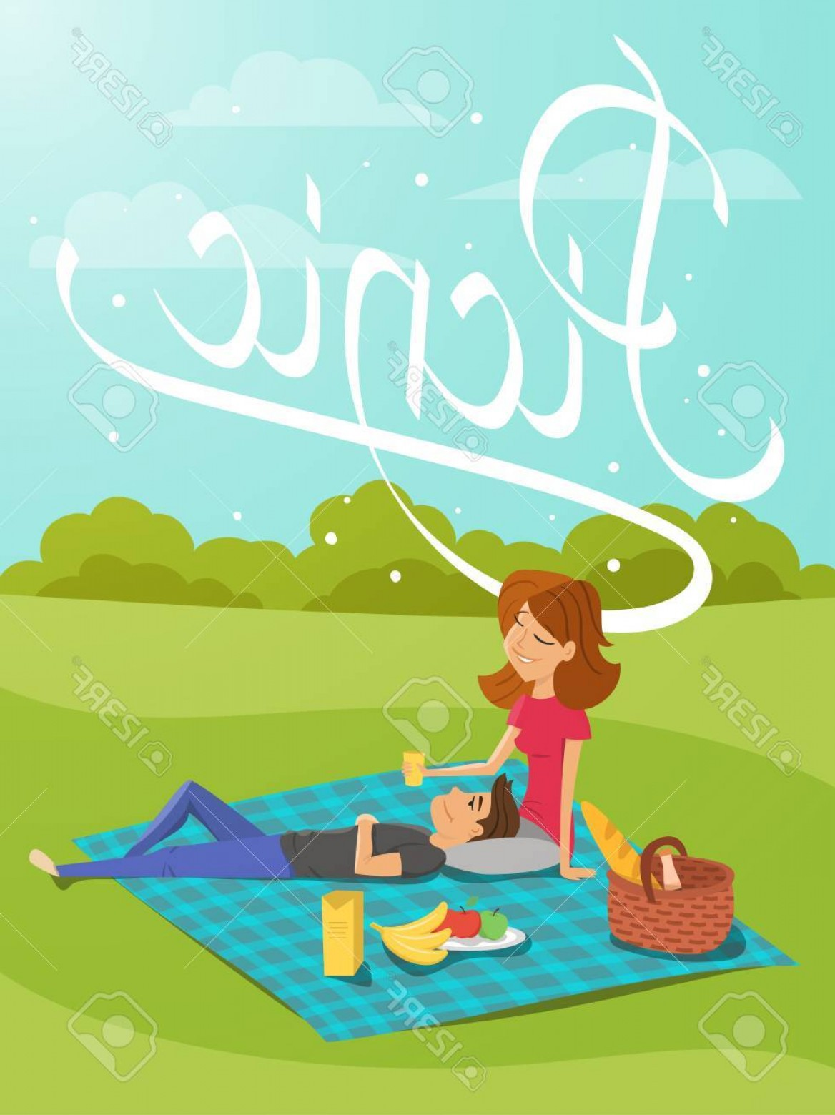 Vector Word Picnic: Photostock Vector Vector Illustration Of Young Happy Couple Having Picnic In The Park Hand Drawn Word Picnic Template