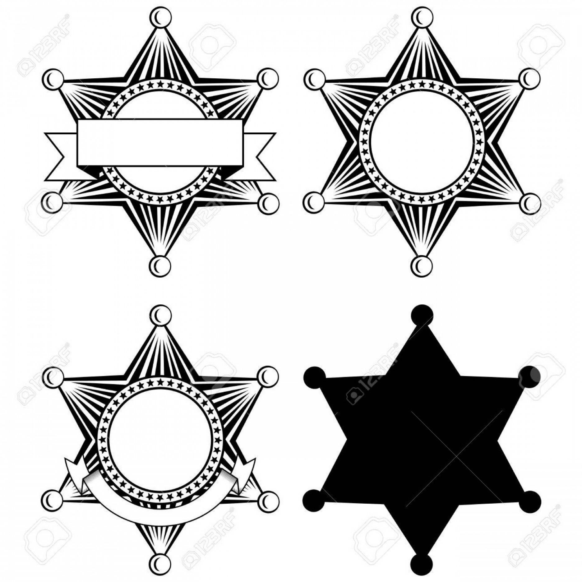 Star Badge Vector: Photostock Vector Vector Illustration Six Pointed Sheriffs Star Set