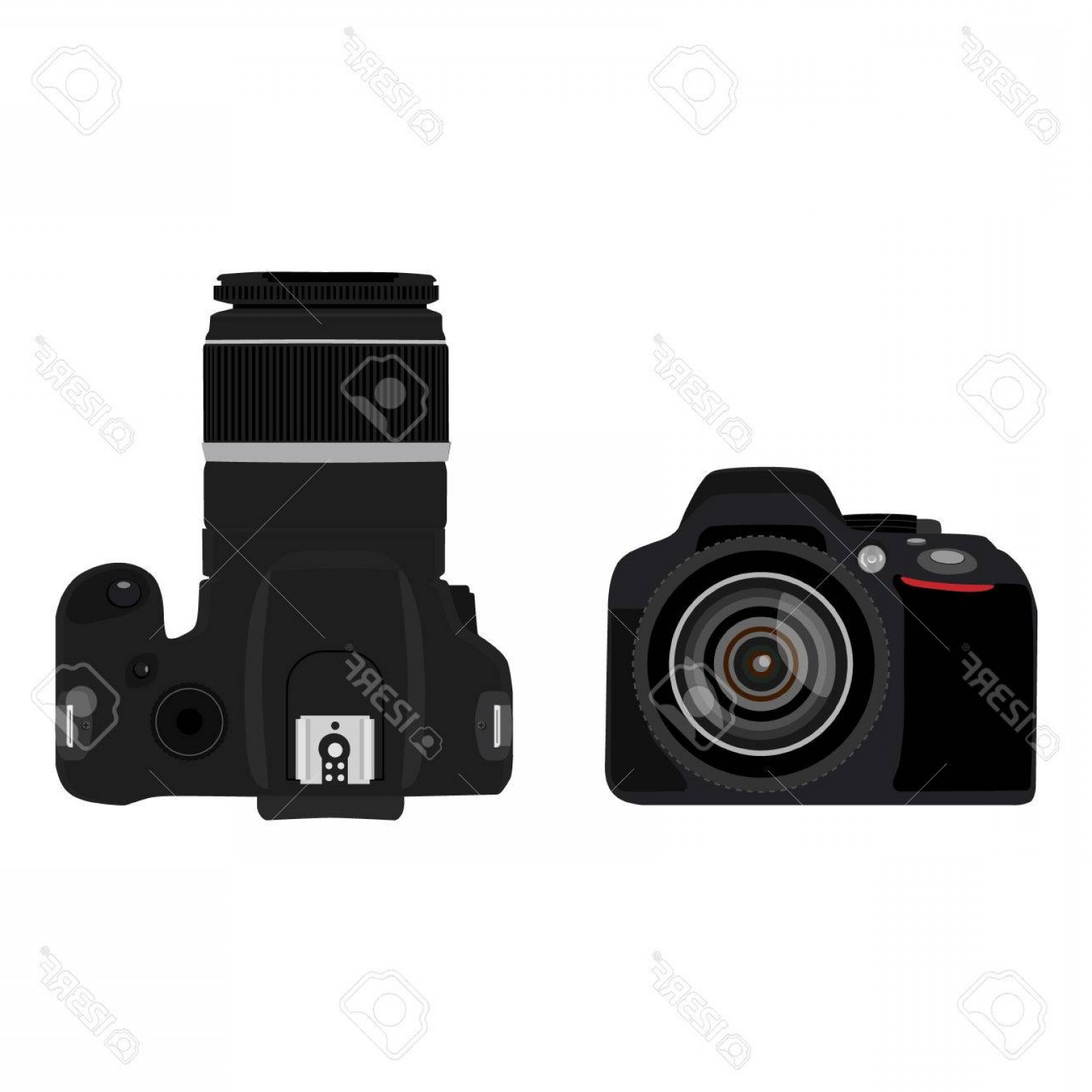 SLR Camera Vector: Photostock Vector Vector Illustration Slr Camera Top And Side View Dslr Realistic Photo Camera Icon Digital Camera