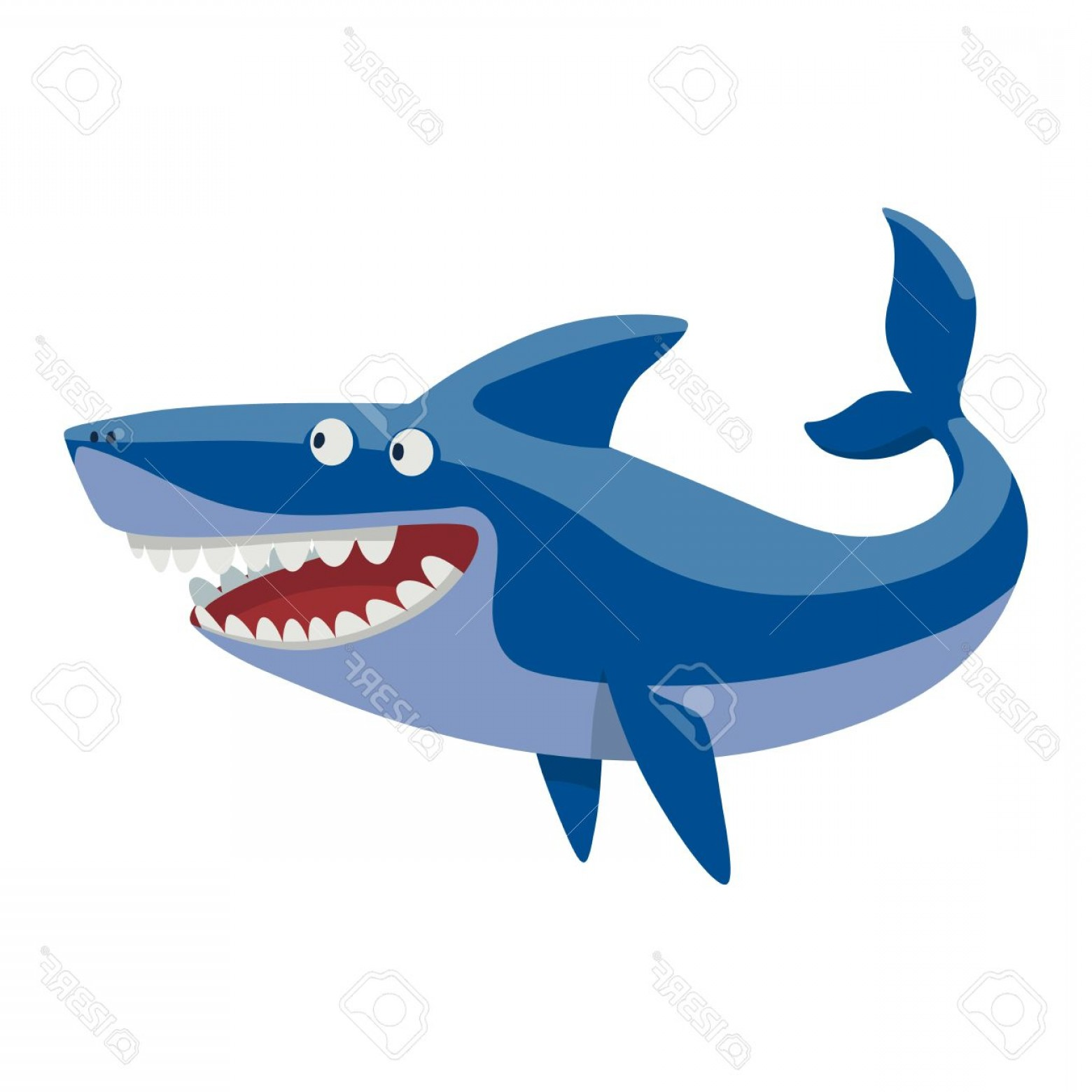 Cool Evil Vectors: Photostock Vector Vector Illustration Toothy White Swimming Angry Shark Animal Sea Isolated Shark Character Underwater