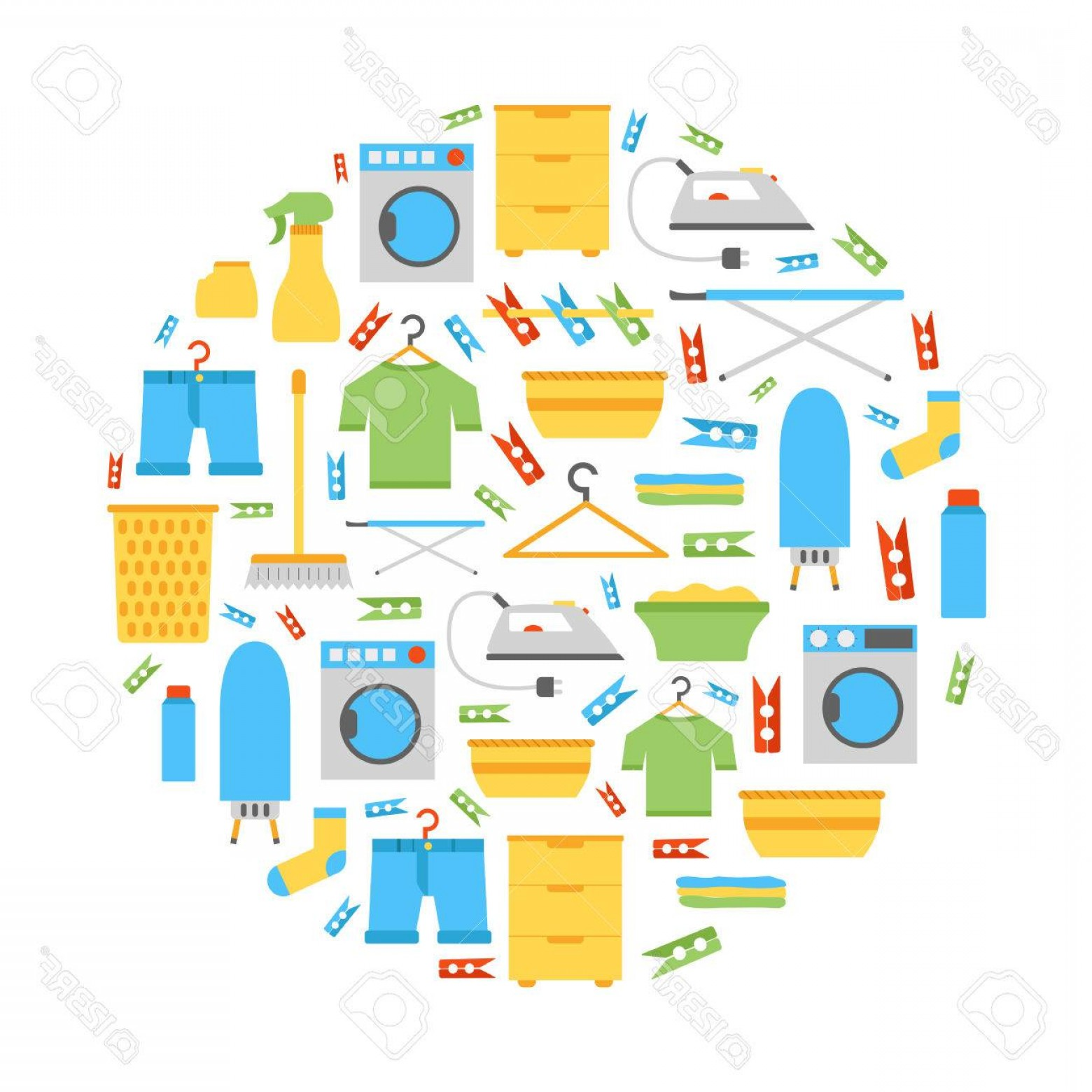 Clothes For Washing Vector: Photostock Vector Vector Illustration With Flat Laundry Room Background Washing Machine Dryer Iron Clothes Hanger Iron