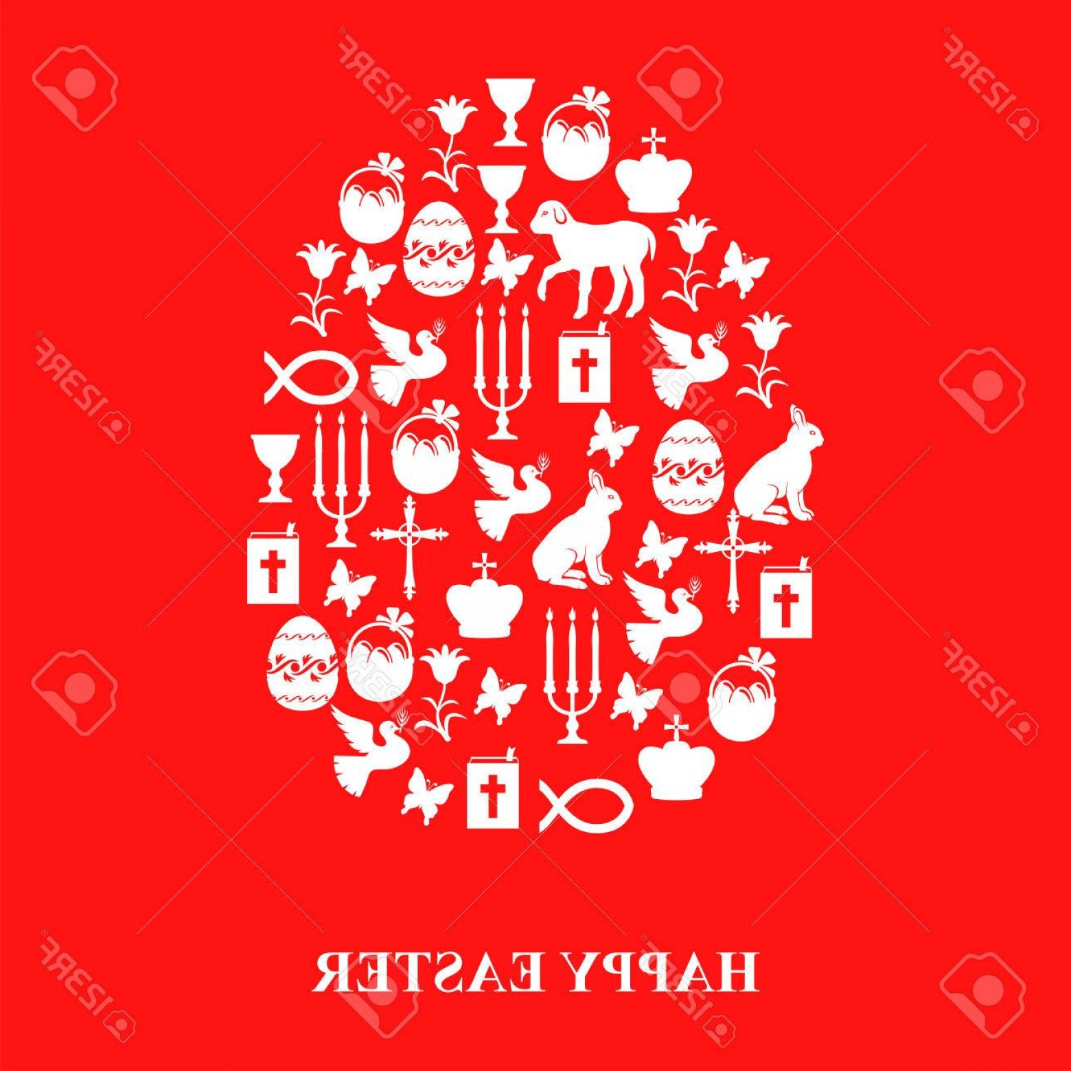 Gospel Music Background Vector: Photostock Vector Vector Illustrations Of Egg Of Easter Symbols Cross Gospel Candles Dove Lamb Hare On Red Background