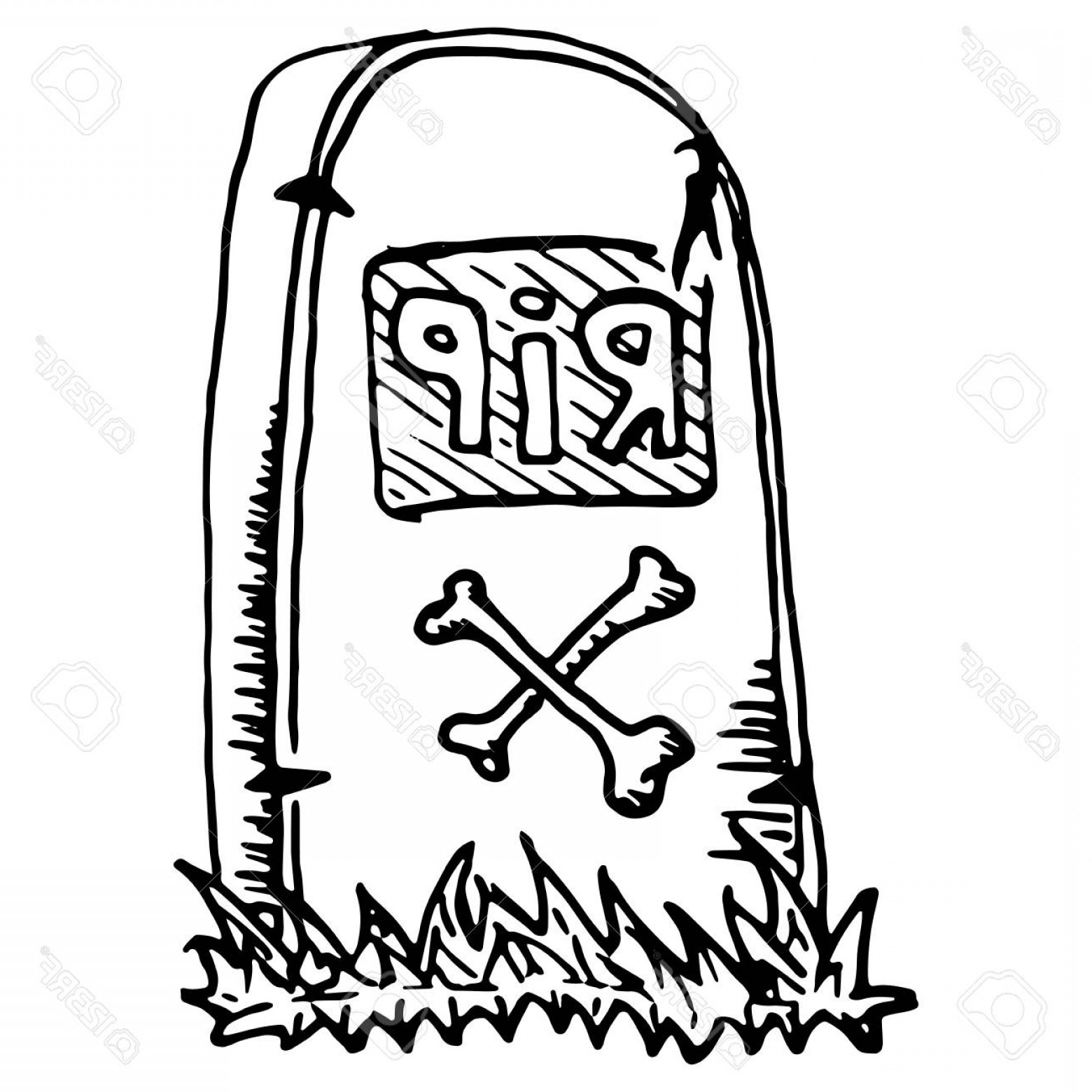 Rip Clip Art Vector: Photostock Vector Vector Image Of Tombstones In A Cemetery Tomb With The Inscription Rip Illustration Of A Gravestone