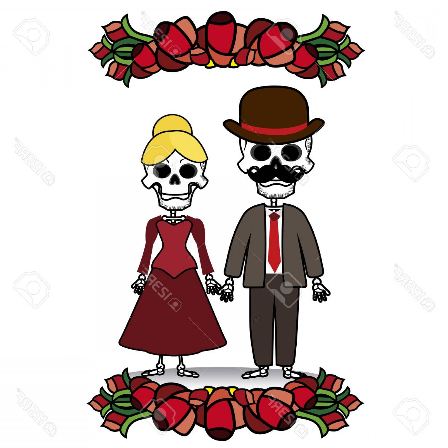 Skeletons In Love Vector: Photostock Vector Vector Image Two Skeletons With Flowers