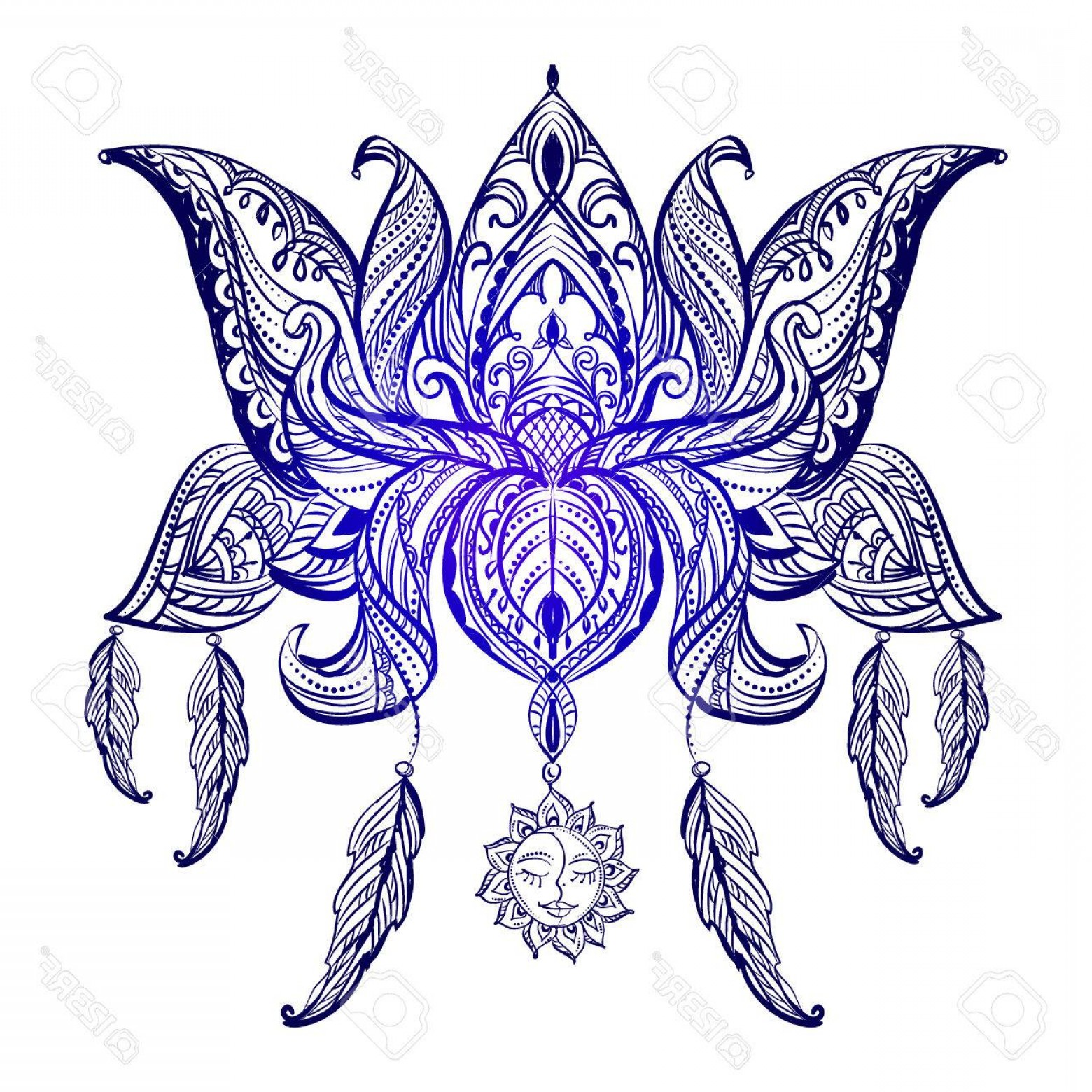 Vector Art Henna: Photostock Vector Vector Isolated Ornamental Lotus Flower Ethnic Art Henna Tattoo Patterned Indian Paisley Hand Drawn