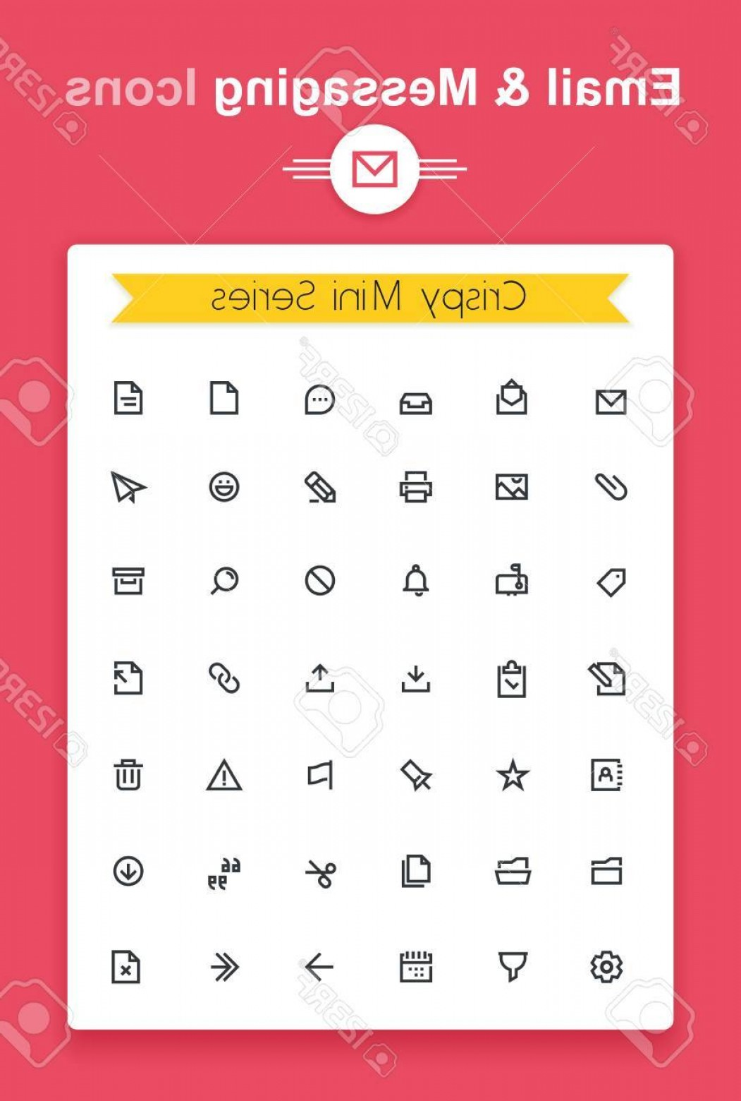 Small Email Icon Vector: Photostock Vector Vector Line Email And Messaging App Tiny Icon Set Minimalistic Crisp Contour Icons For The Best Reco