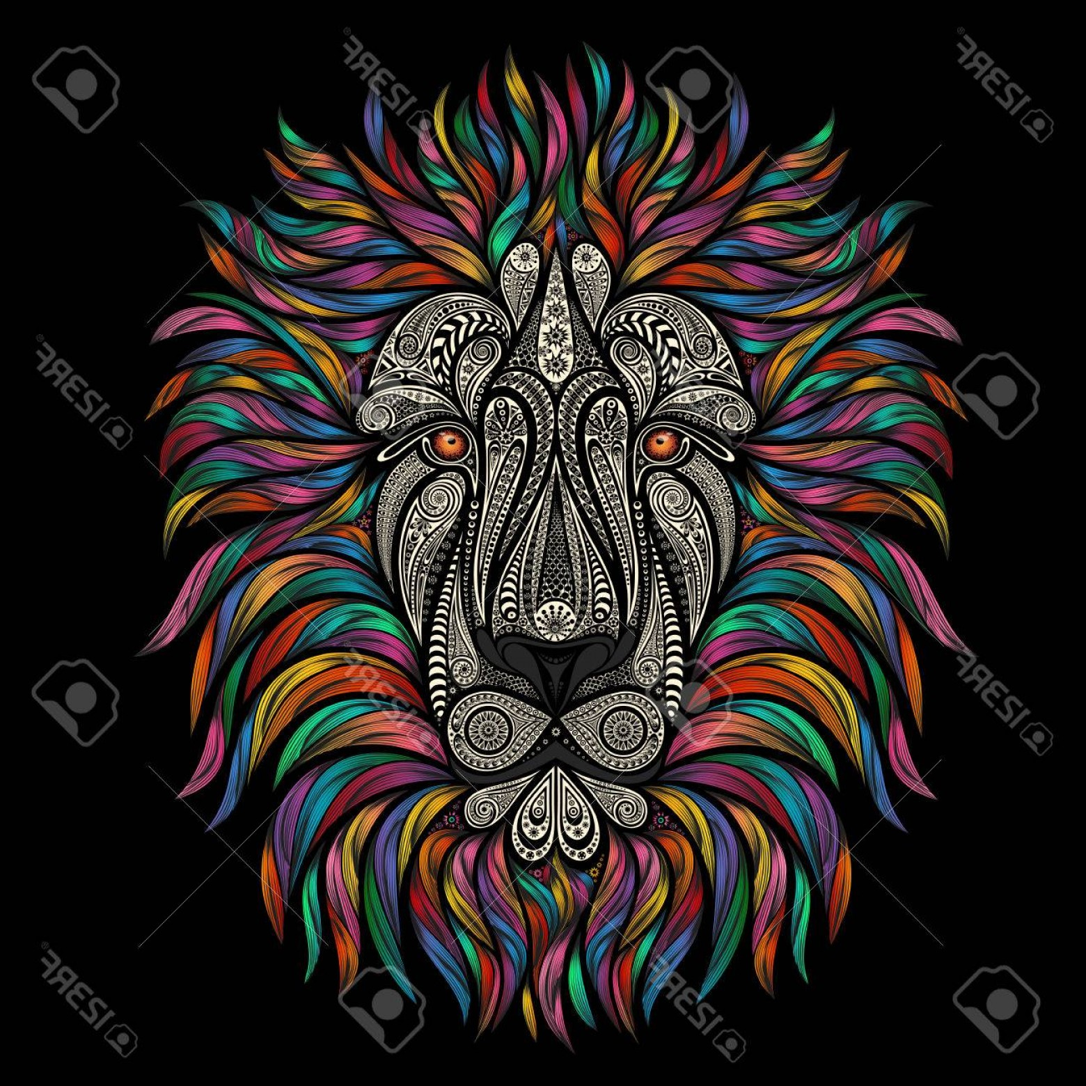 Beautiful Patterns Vector: Photostock Vector Vector Lion Of Beautiful Patterns With A Color Mane On A Black Background