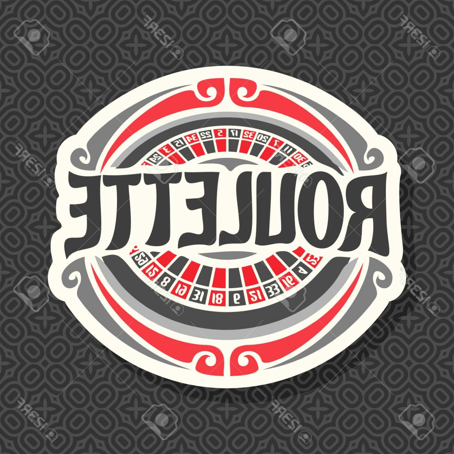 Title Red And Gray Vector: Photostock Vector Vector Logo For Roulette Gamble Red And Black Numbers Vintage Font Of Lettering Title Text Roulette