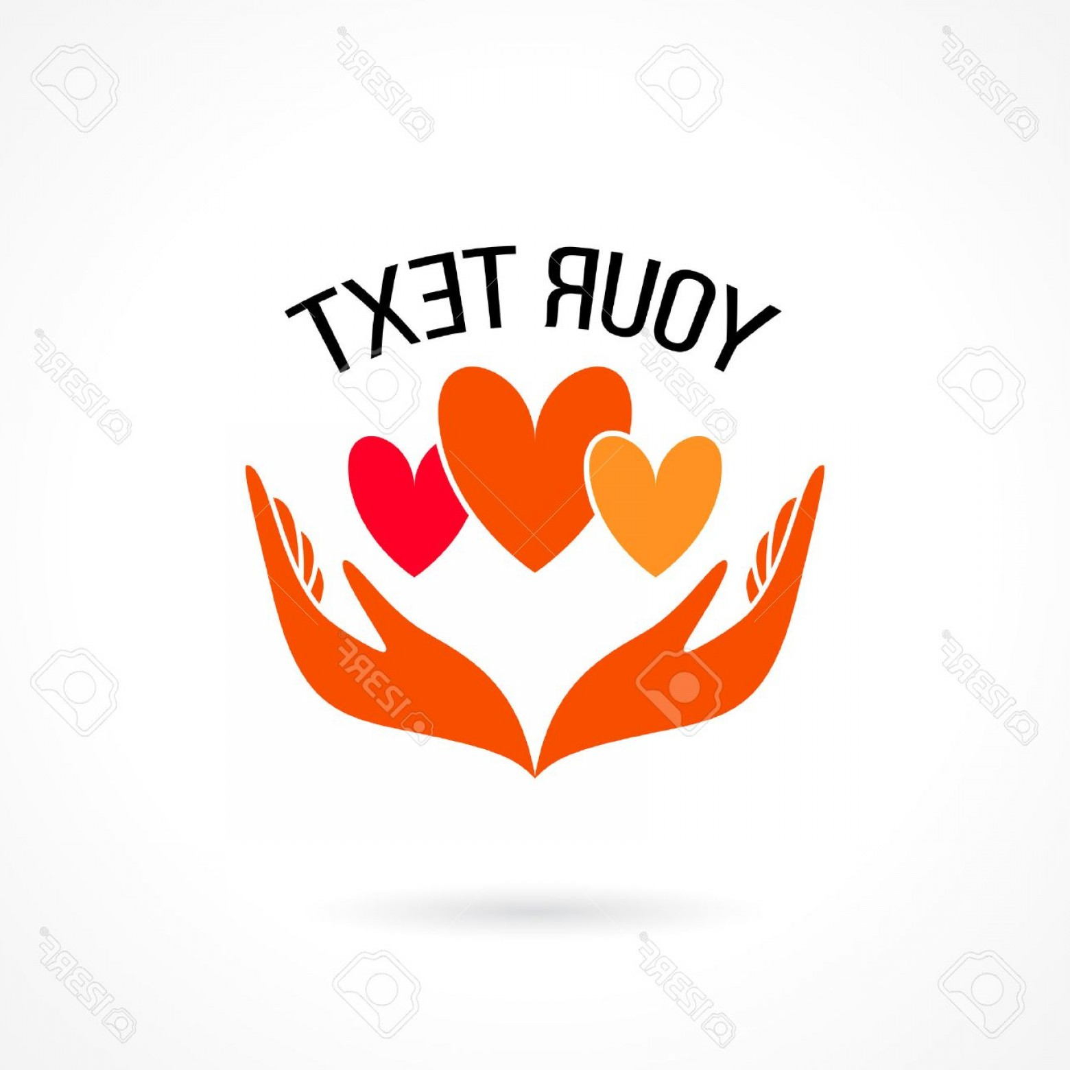 Share Logo Vector: Photostock Vector Vector Logo With Two Hands Holding Hearts Concept Of Love Care Family Safety Insurance Help Share Em
