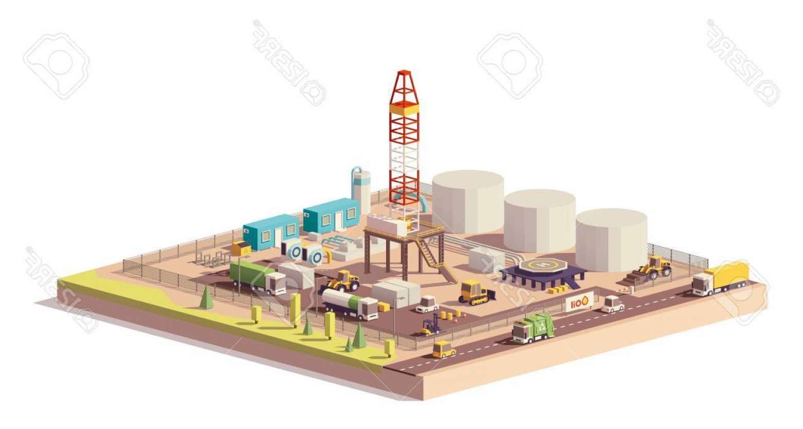 Oilfield Vector Crosses: Photostock Vector Vector Low Poly Land Oil And Gas Drilling Rig