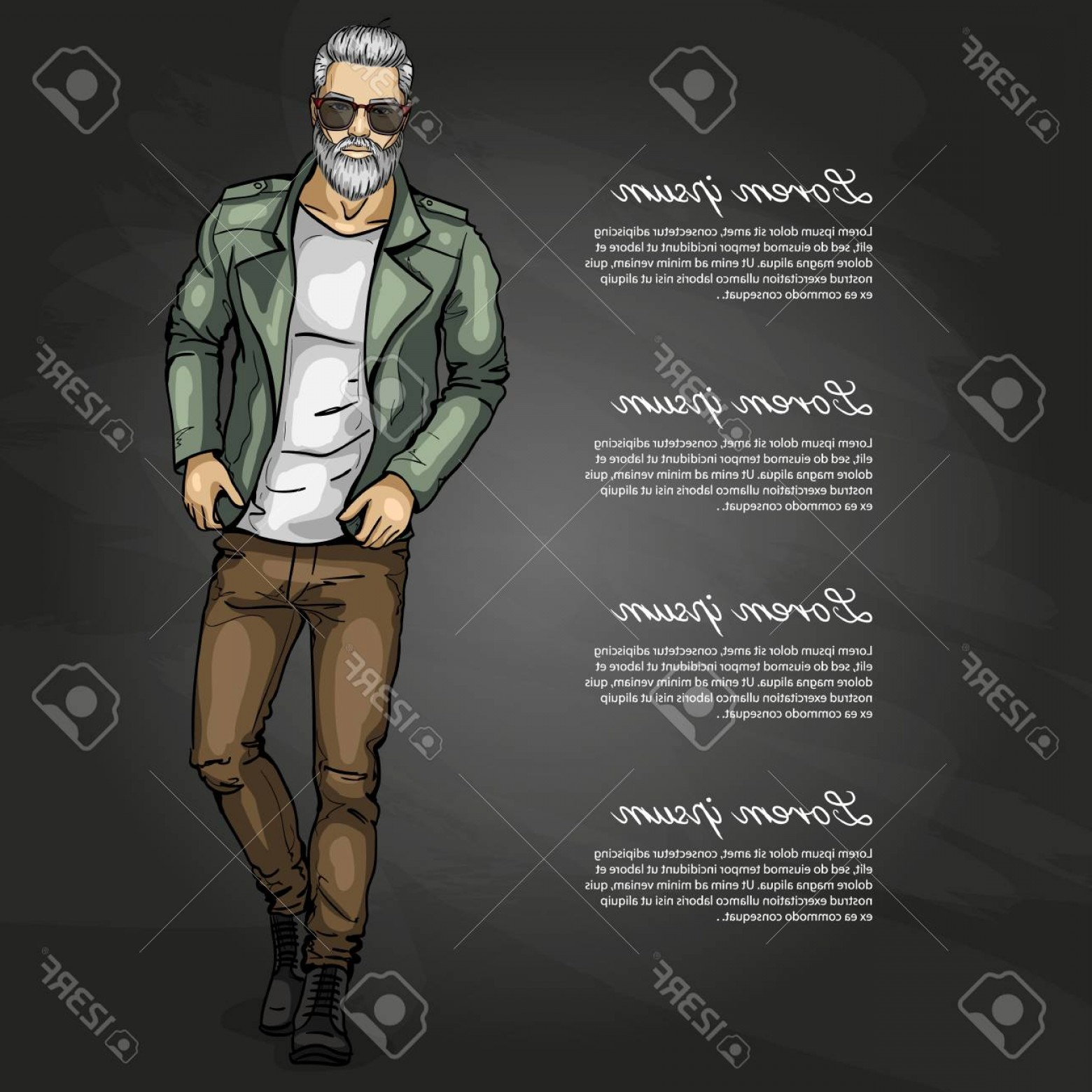 Vectorman Darkness: Photostock Vector Vector Man Model Dressed In Jeans Lather Jacket Shoes And T Shirt On Dark Background