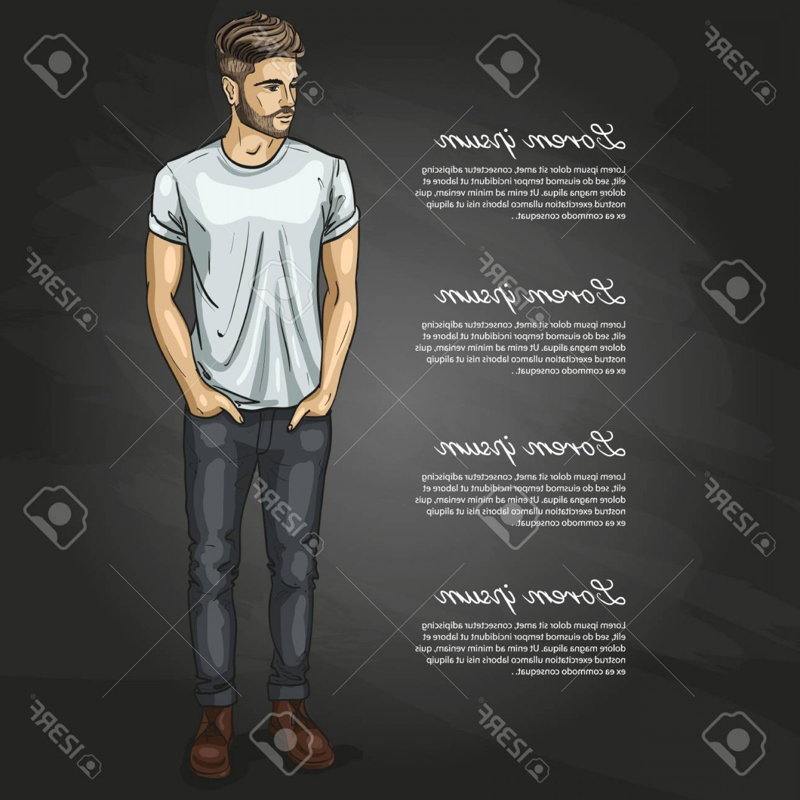 Vectorman Darkness: Photostock Vector Vector Man Model Dressed In Jeans Shoes And T Shirt On Dark Background