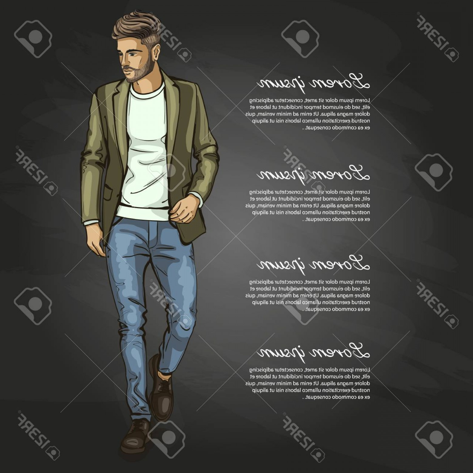Vectorman Darkness: Photostock Vector Vector Man Model Dressed In Jeans Shoes Classic Jacket And T Shirt On Dark Background