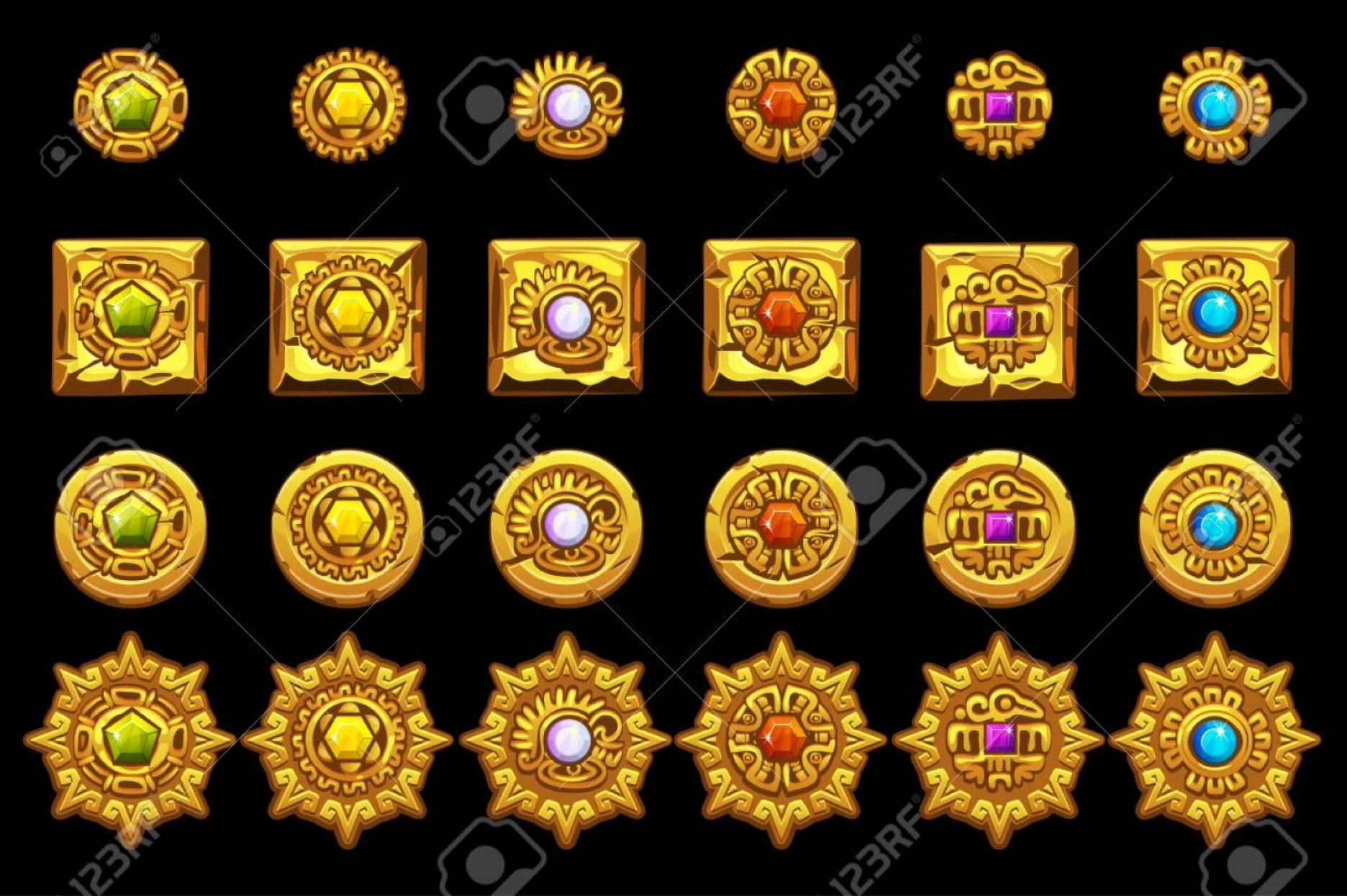 Mayan Sun Gold Vector Png: Photostock Vector Vector Maya Icons American Aztec Mayan Culture Golden Symbols Isolated On Separate Layers