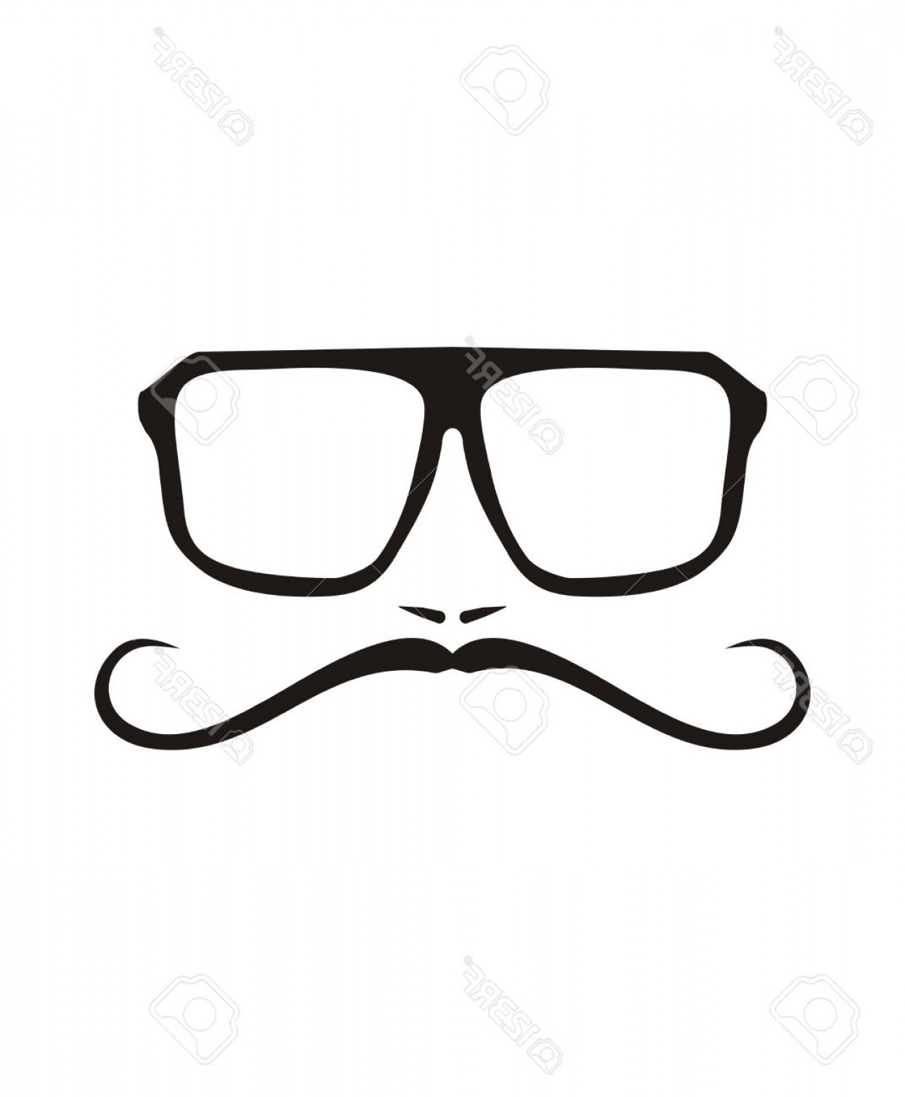 Mustache Face Vector: Photostock Vector Vector Men Face With Long Mustache And Huge Hipster Glasses Black American Retro Truck Driver Silhou