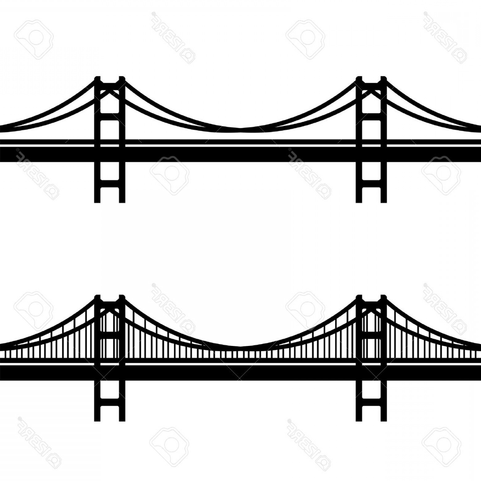 Suspension Bridge Vector: Photostock Vector Vector Metal Cable Suspension Bridge Black Symbol