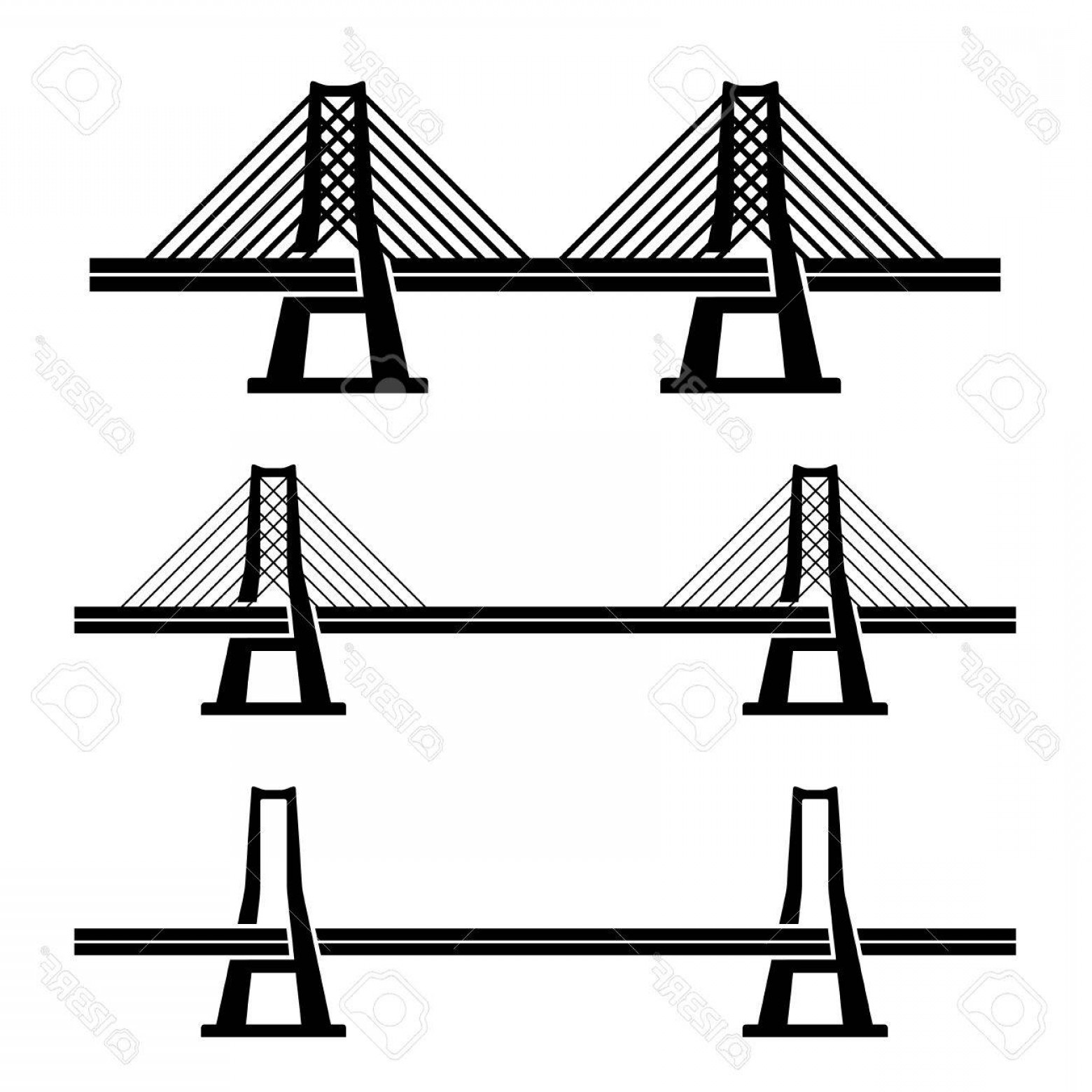 Suspension Bridge Vector: Photostock Vector Vector Modern Cable Suspension Bridge Black Symbol