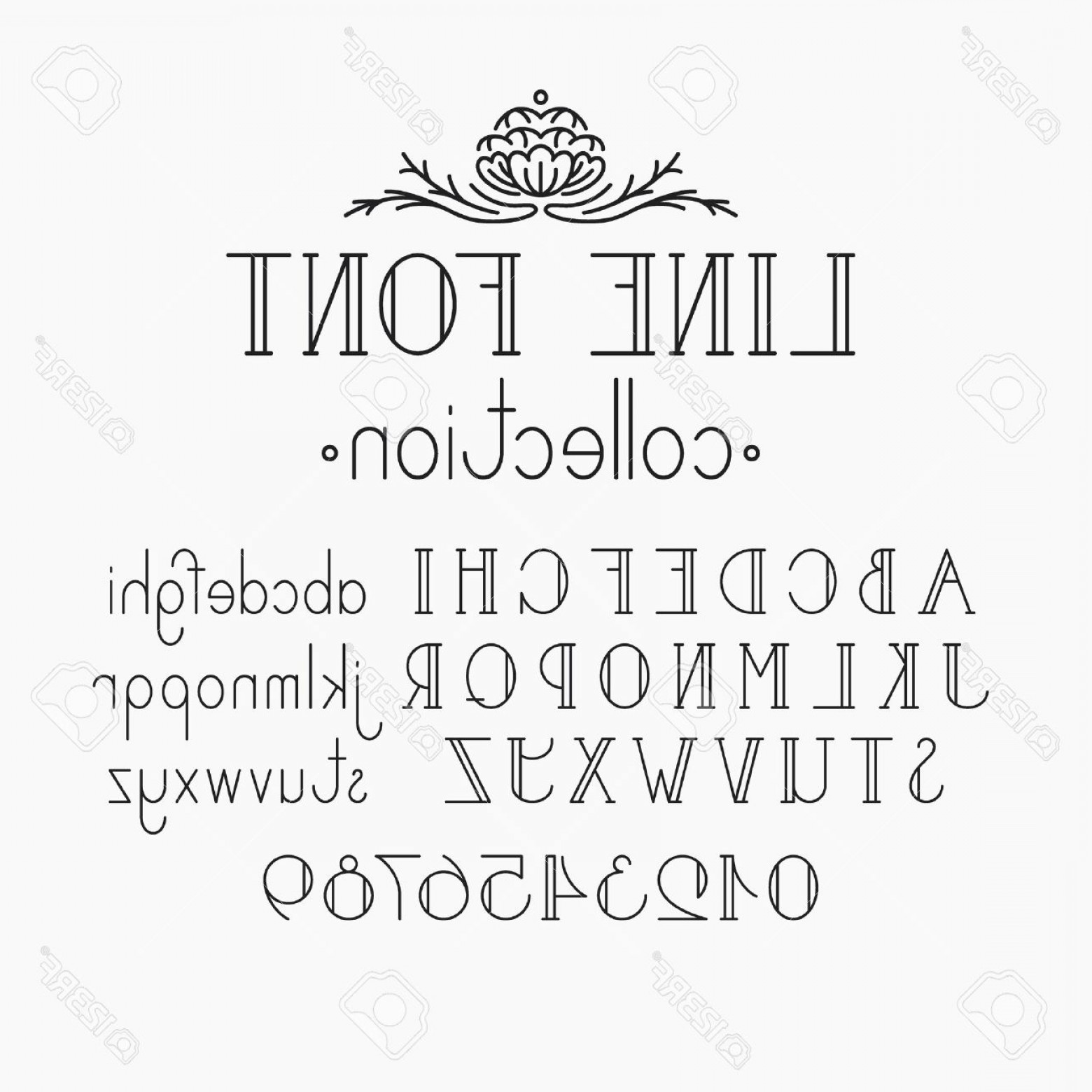 Decorative Font Vector Illustration: Photostock Vector Vector Mono Line Decorative Font Latin Alphabet Of Vintage Outline Letters Capitals Smalls And Numer