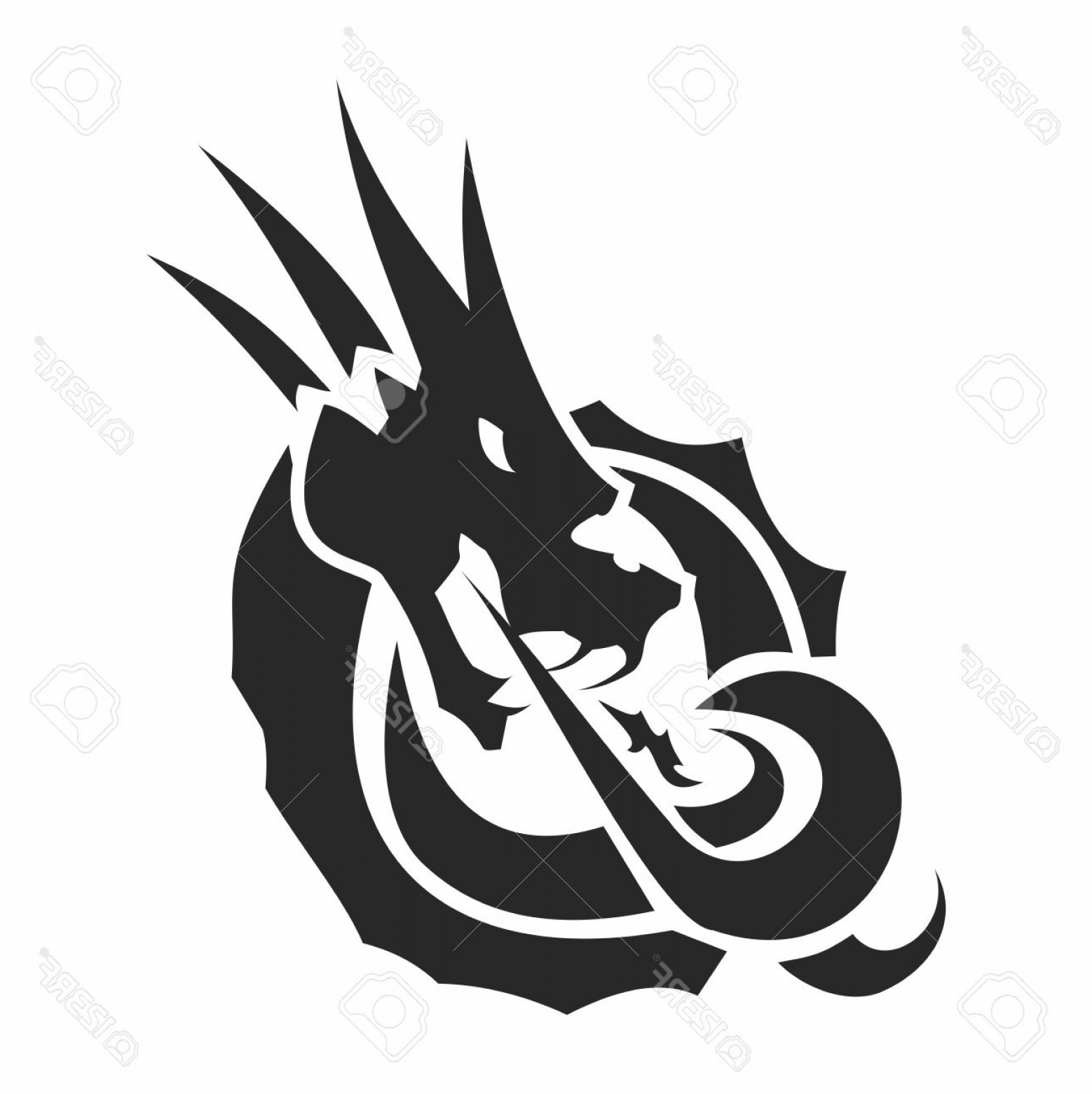 Dragon Fire Vector: Photostock Vector Vector Monochrome Artistic Dragon Emblem Logo Fire Breathing Silhouette