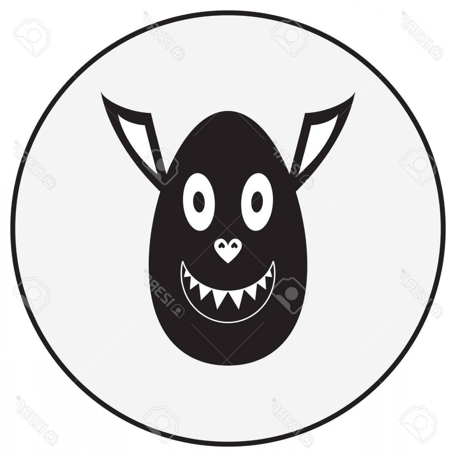 Vector Pig Nose: Photostock Vector Vector Monochrome Illustration Cute Monster Character With Ovoid Head Pig Nose And Vampire Ears