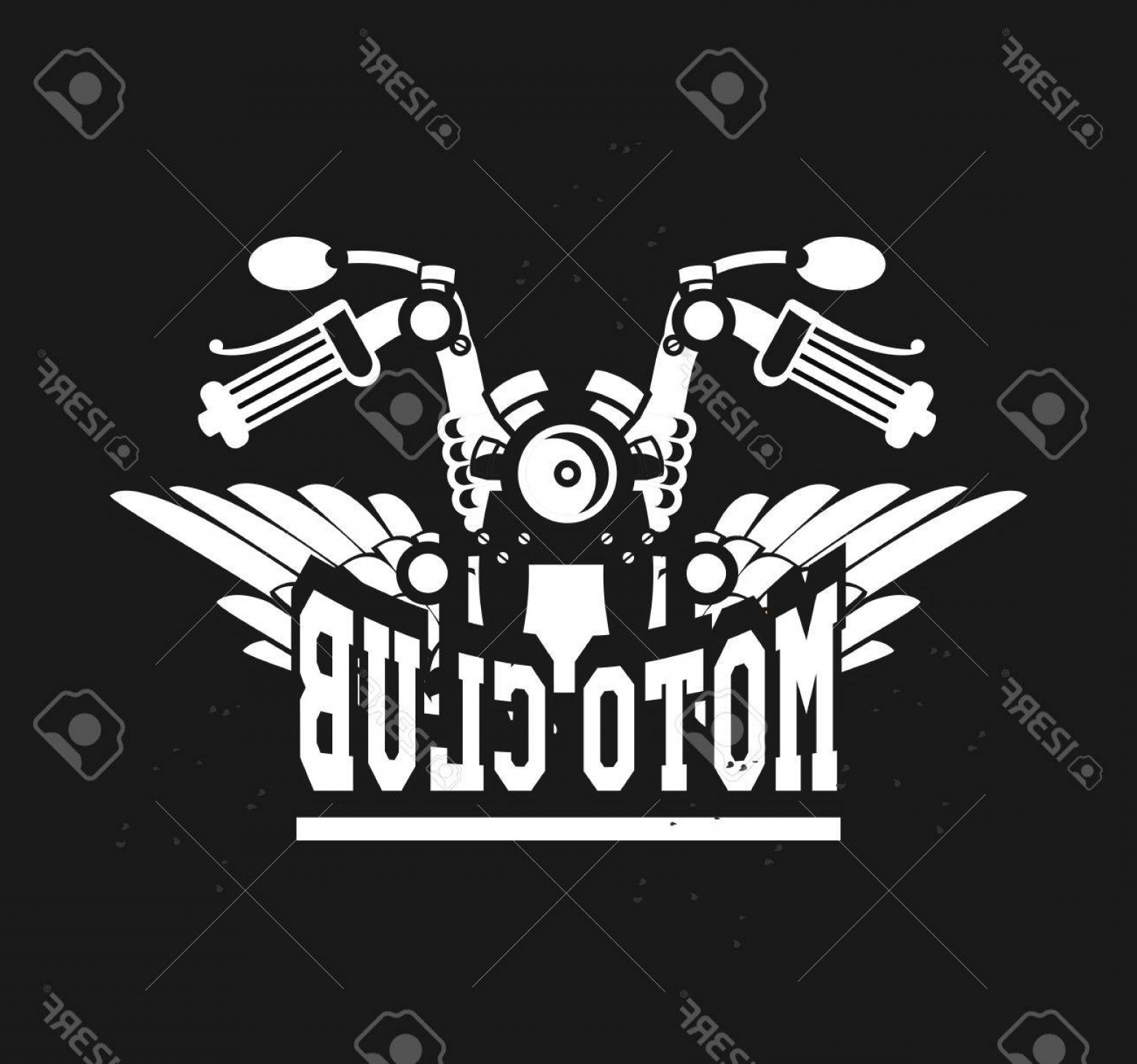 Motorcycle Club Vector: Photostock Vector Vector Motorcycle Club Emblem Retro Bike With Wings On A Black Background